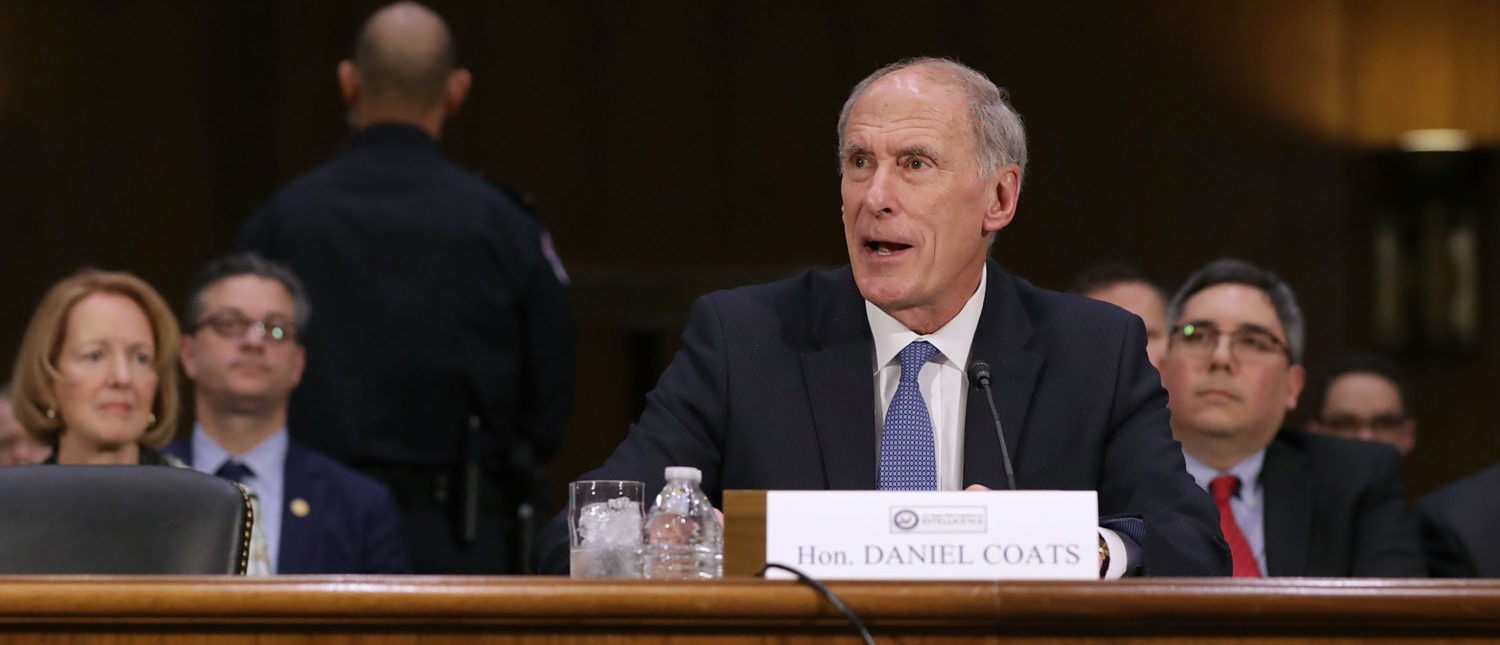 WASHINGTON, DC - FEBRUARY 28: Former U.S. Senator Dan Coats testifies during his confirmation hearing before the Senate Select Intelligence Committee to be the next Director of National Intelligence in the Dirksen Senate Office Building on Capitol Hill February 28, 2017 in Washington, DC. A former ambassador to Germany and a two-time Republican senator from Indiana, Coats is President Donald Trump's choice to be AmericaÕs top intelligence official. (Photo by Chip Somodevilla/Getty Images)
