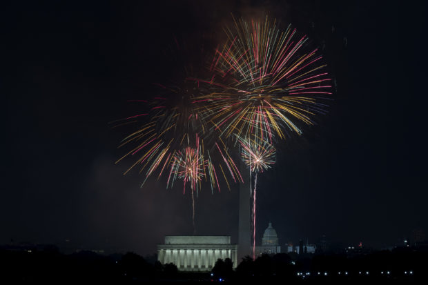 WASHINGTON, D.C. - July 4: Fireworks are launched over the National Mall to celebrate the United States' Independence Day July 4, 2017 in Washington, DC. Thousands gather throughout the city to watch the display and enjoy festivities. (Photo by Aaron P. Bernstein/Getty Images)