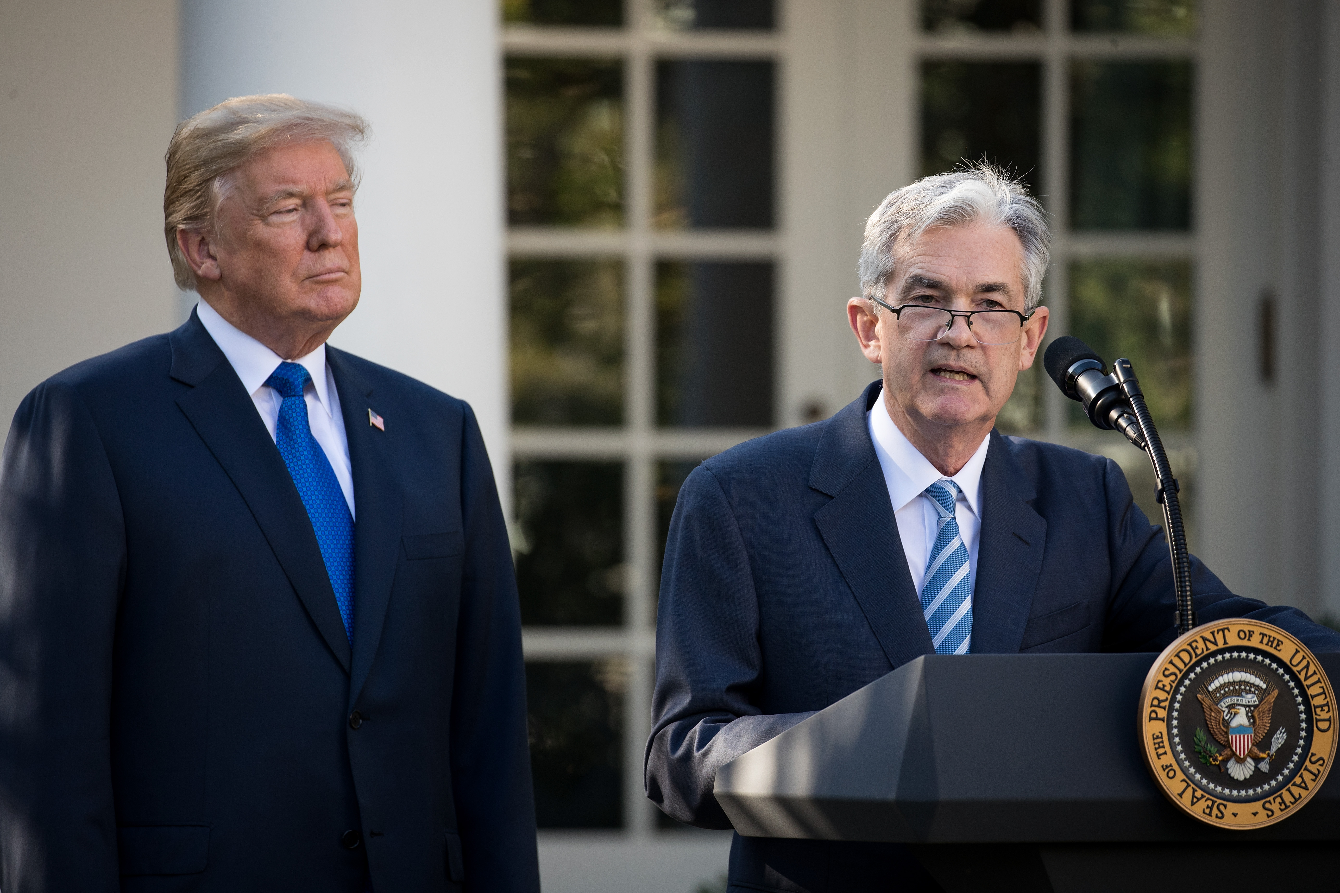 U.S. President Donald Trump looks on as his nominee for the chairman of the Federal Reserve Jerome Powell speaks during a press event in the Rose Garden at the White House, November 2, 2017 in Washington, DC. (Photo by Drew Angerer/Getty Images)