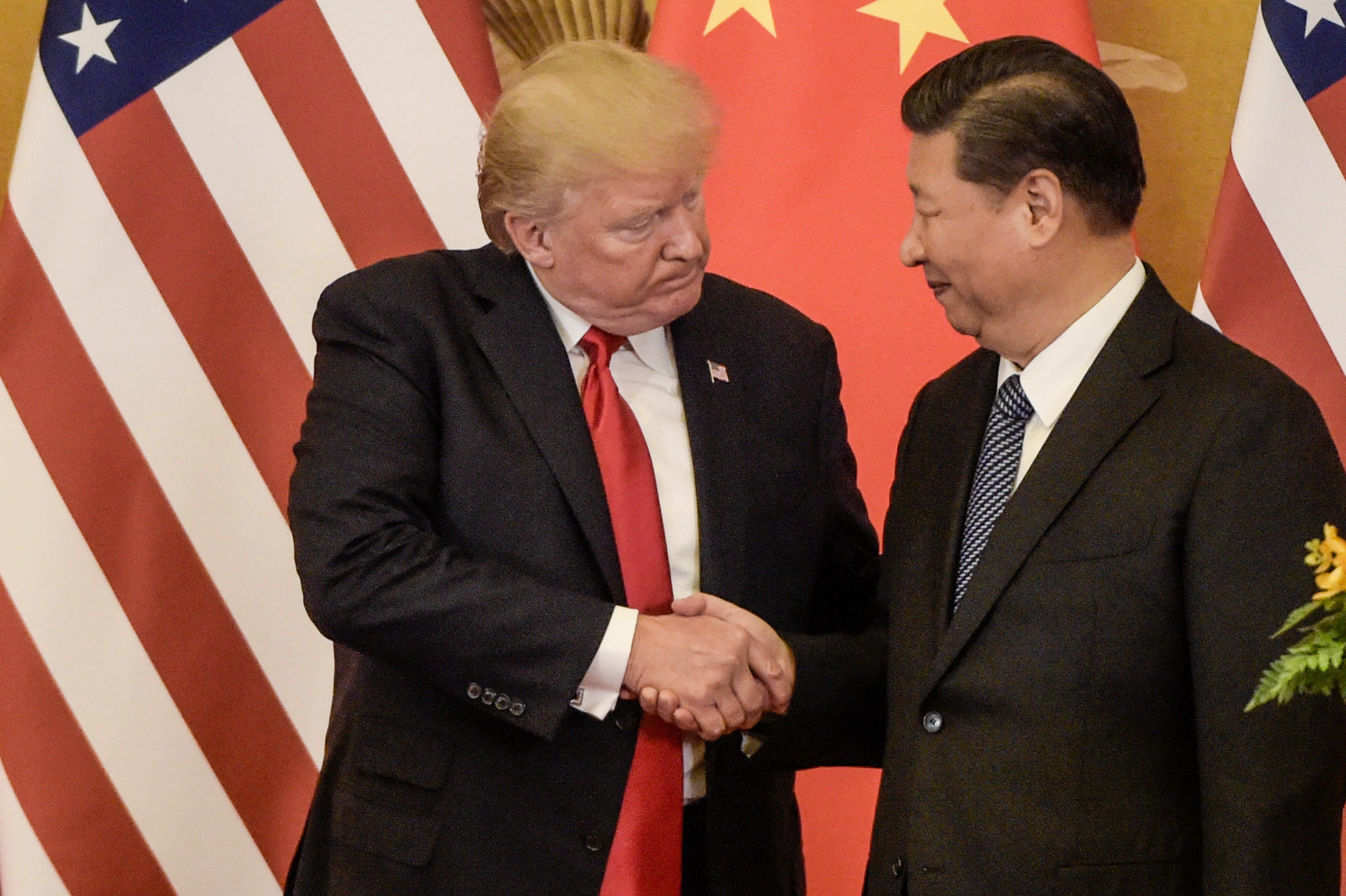 US President Donald Trump (L) shakes hand with China's President Xi Jinping at the end of a press conference at the Great Hall of the People in Beijing on November 9, 2017. (FRED DUFOUR/AFP/Getty Images)