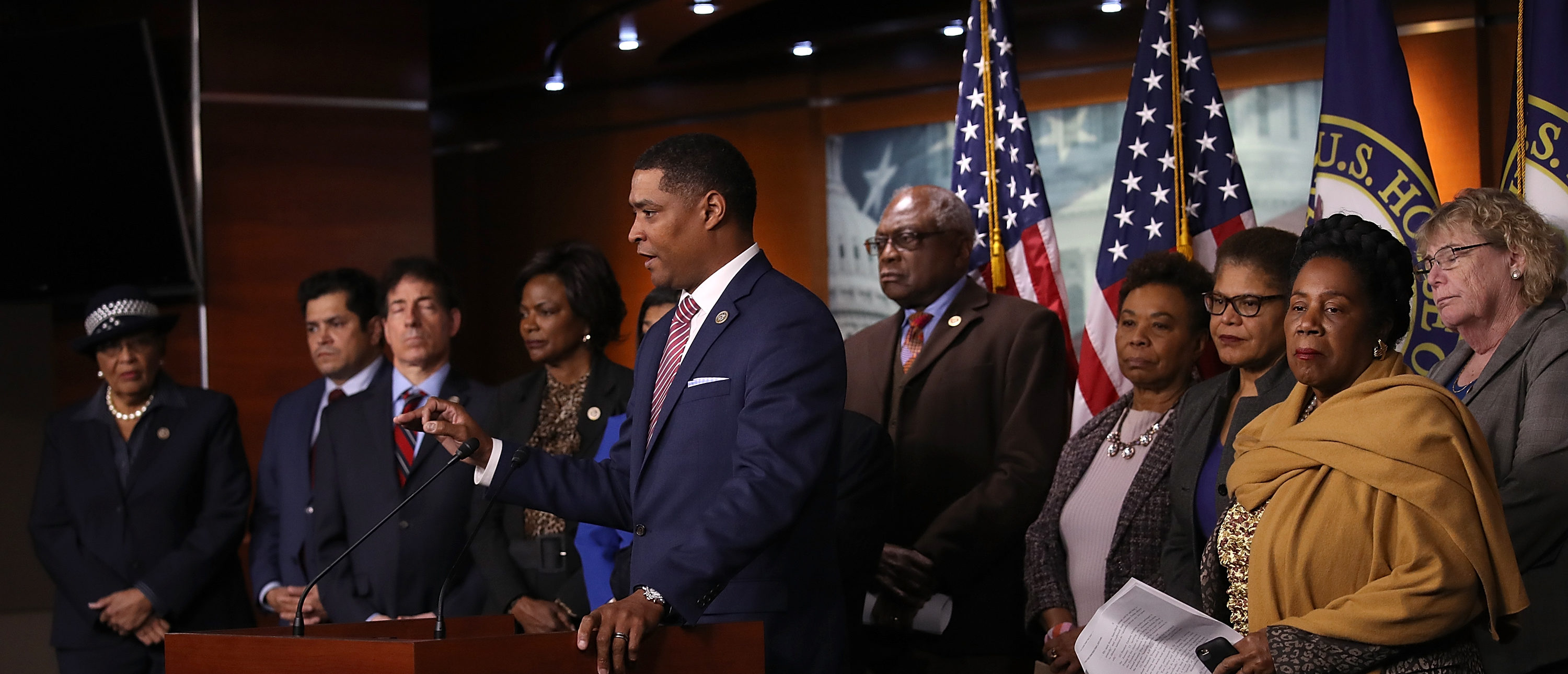 """WASHINGTON, DC - JANUARY 18: Congressional Black Caucus Chairman Cedric Richmond (D-LA) speaks during a press conference with members of the caucus and members of the House Judiciary Committee at the U.S. Capitol on January 18, 2018 in Washington, DC. During the press conference, Richmond discussed the introduction of a resolution to censure President Trump for """"racist"""" comments on Haiti, El Salvador, and African countries. (Photo by Win McNamee/Getty Images)"""
