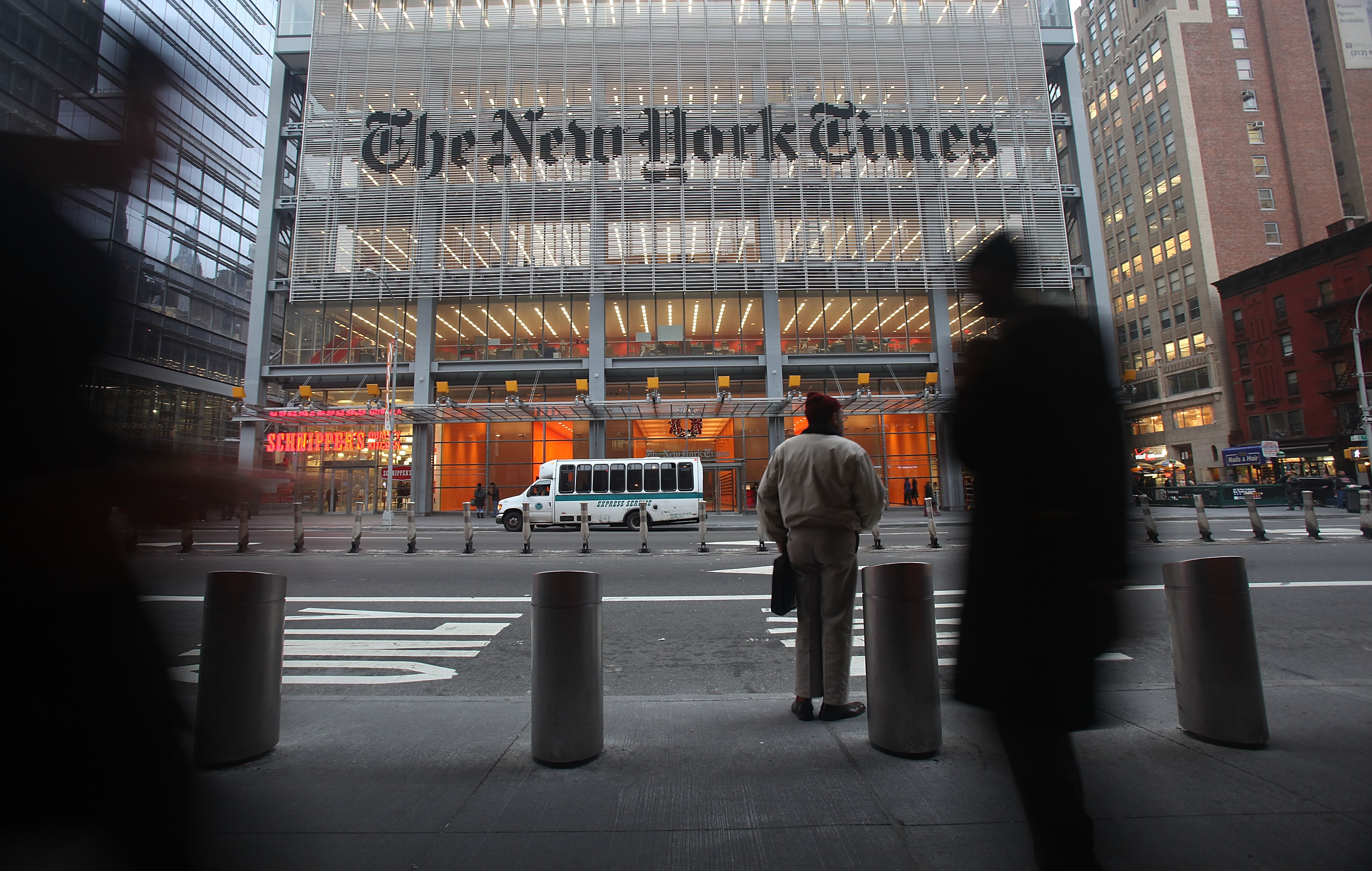 The New York Times' masthead is displayed in front of the midtown headquarters in New York City. (Photo: Mario Tama/Getty Images)