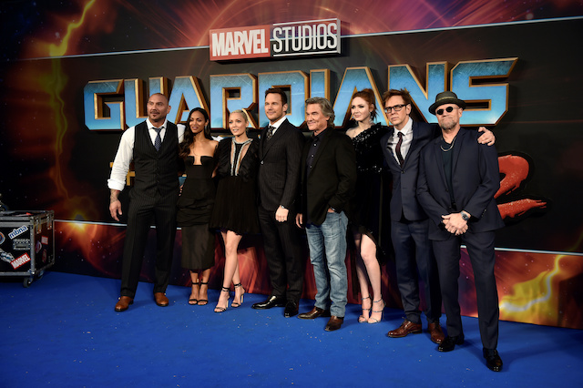 "Cast members (L-R) Dave Bautista, Zoe Saldana, Pom Klementieff, Chris Pratt, Kurt Russell, Karen Gillan, director James Gunn and Michael Rooker pose as they attend a premiere of the film ""Guardians of the galaxy, Vol. 2"" in London, Britain, April 24, 2017. REUTERS/Hannah McKay"