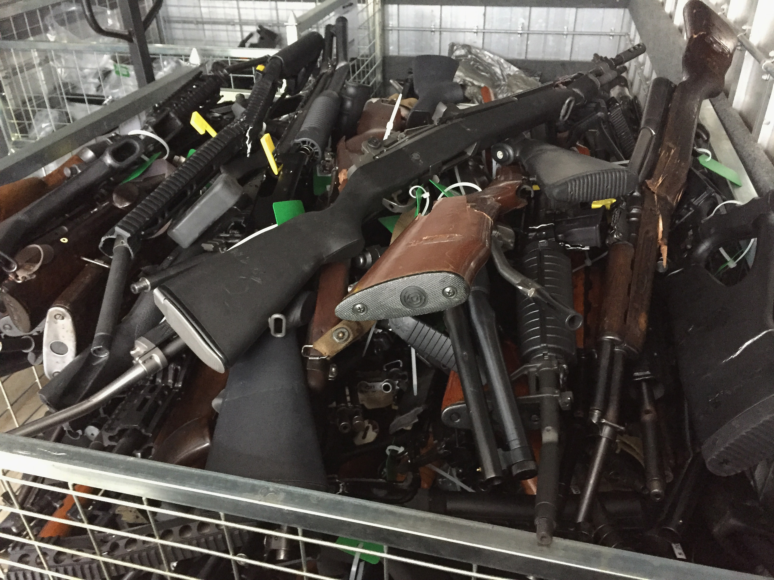 In this handout image provided by New Zealand Police, collected firearms are seen at Riccarton Racecourse on July 13, 2019 in Christchurch, New Zealand. It is the first firearms collection event to be held in New Zealand following changes to gun laws, providing firearms owners the initial opportunity of many to hand-in prohibited firearms for buy-back and amnesty. The Christchurch event is one of 258 events that will run across the country over the next three months.The NZ Government will pay owners between 25 per cent and 95 per cent of a set base price, depending on condition. It will also compensate dealers and pay for some weapons to be modified to make them legal. The amnesty ends on December 20. (Photo by New Zealand Police/Getty Images)