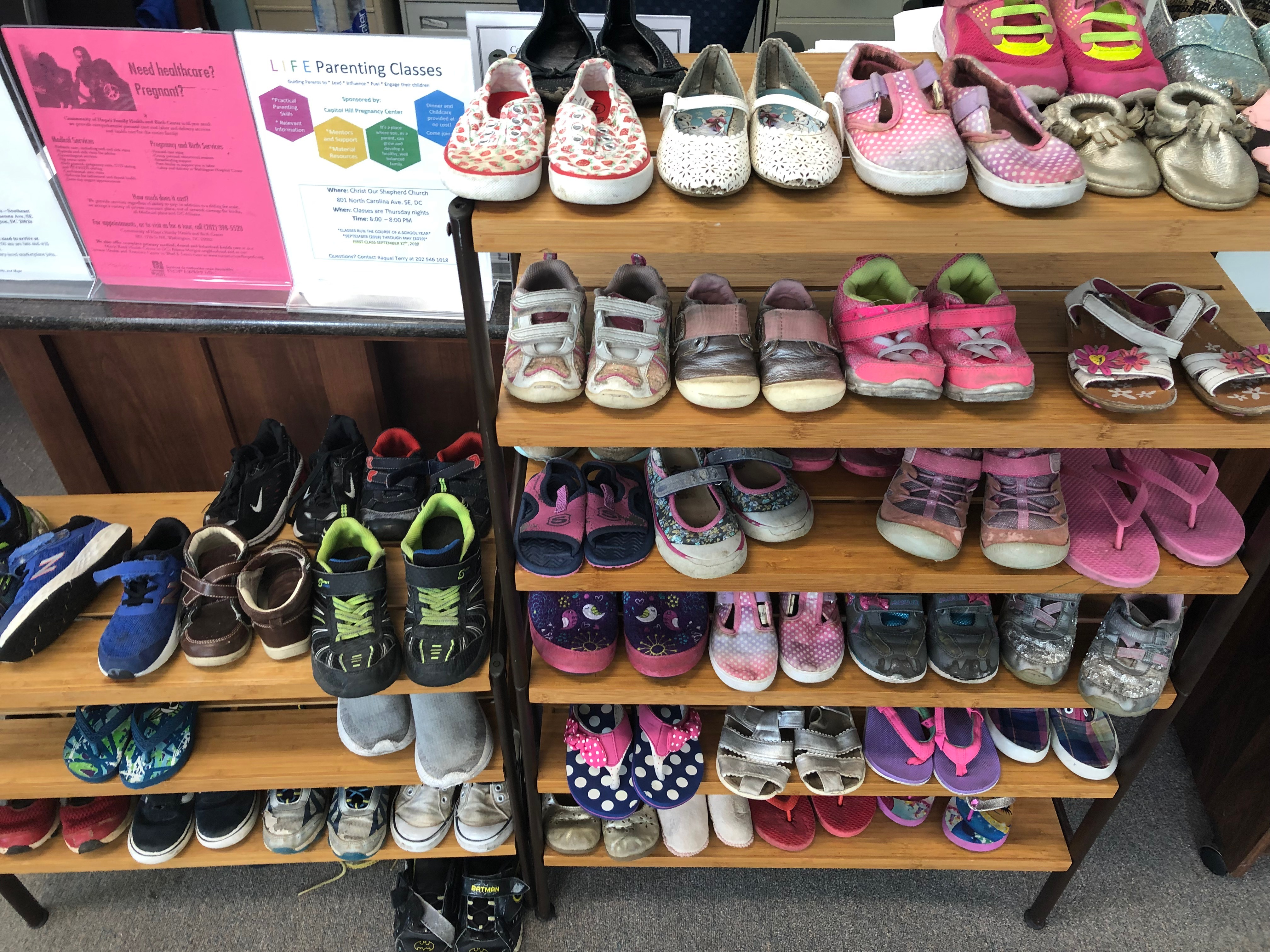 Shoes to be given to children in need at the Capitol Hill Pregnancy Center. Photo courtesy of Mary Margaret Olohan, Daily Caller News Foundation.