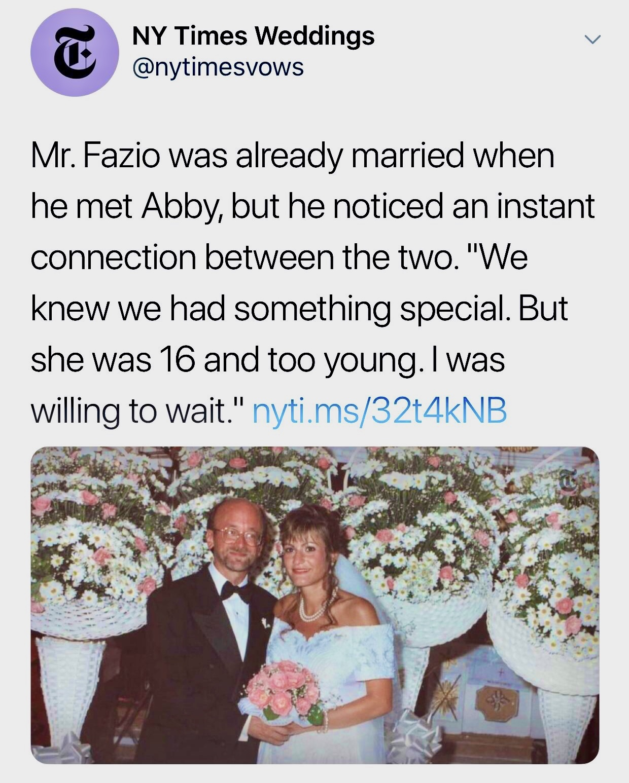 """The New York Times deleted this tweet, which said there was """"an instant connection"""" between a 16-year-old girl and an older married man. (Screenshot/Twitter/New York Times Weddings)"""