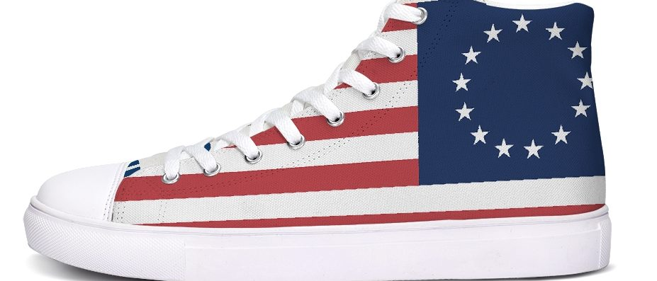 """""""Boss Like Ross"""" sneakers were released Tuesday, shortly after Nike recalled their Betsy Ross-era flag shoes. (Photo courtesy of Carly Reed)"""