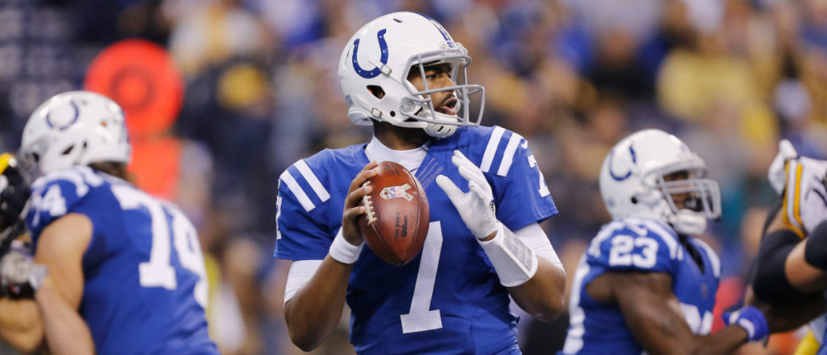 INDIANAPOLIS, IN - NOVEMBER 12: Jacoby Brissett #7 of the Indianapolis Colts looks to pass against the Pittsburgh Steelers during the first half at Lucas Oil Stadium on November 12, 2017 in Indianapolis, Indiana. (Photo by Michael Reaves/Getty Images)