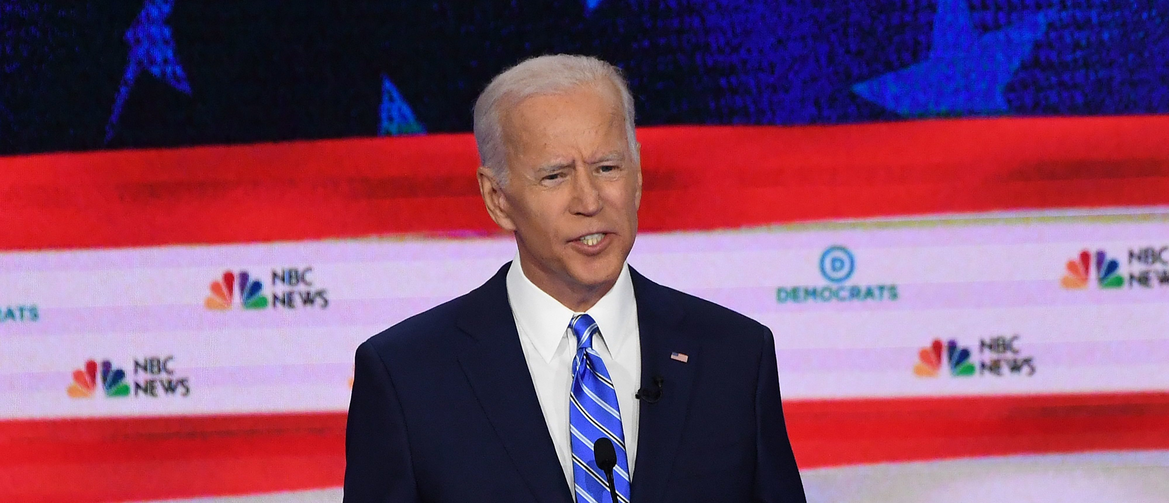 Democratic presidential hopeful former US Vice President Joseph R. Biden speaks during the second Democratic primary debate of the 2020 presidential campaign season hosted by NBC News at the Adrienne Arsht Center for the Performing Arts in Miami, Florida, June 27, 2019. ( SAUL LOEB/AFP/Getty Images)