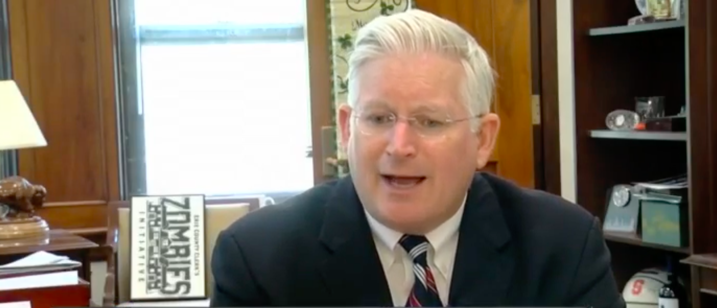 Erie County Clerk Michael Kearns tells local NY outlet about his plan to resist Cuomos Green Light Bill/Credit: WKBW