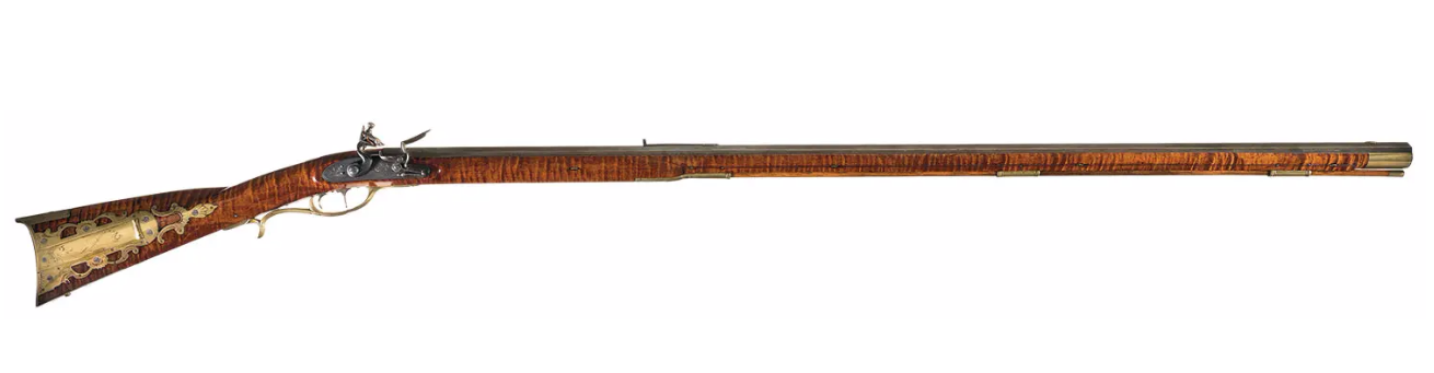 The long rifle, also known as longrifle, Kentucky rifle, Pennsylvania rifle, or American longrifle, was one of the first commonly used rifles for hunting and warfare. Photo courtesy of Rock Island Auction Company https://www.rockislandauction.com/