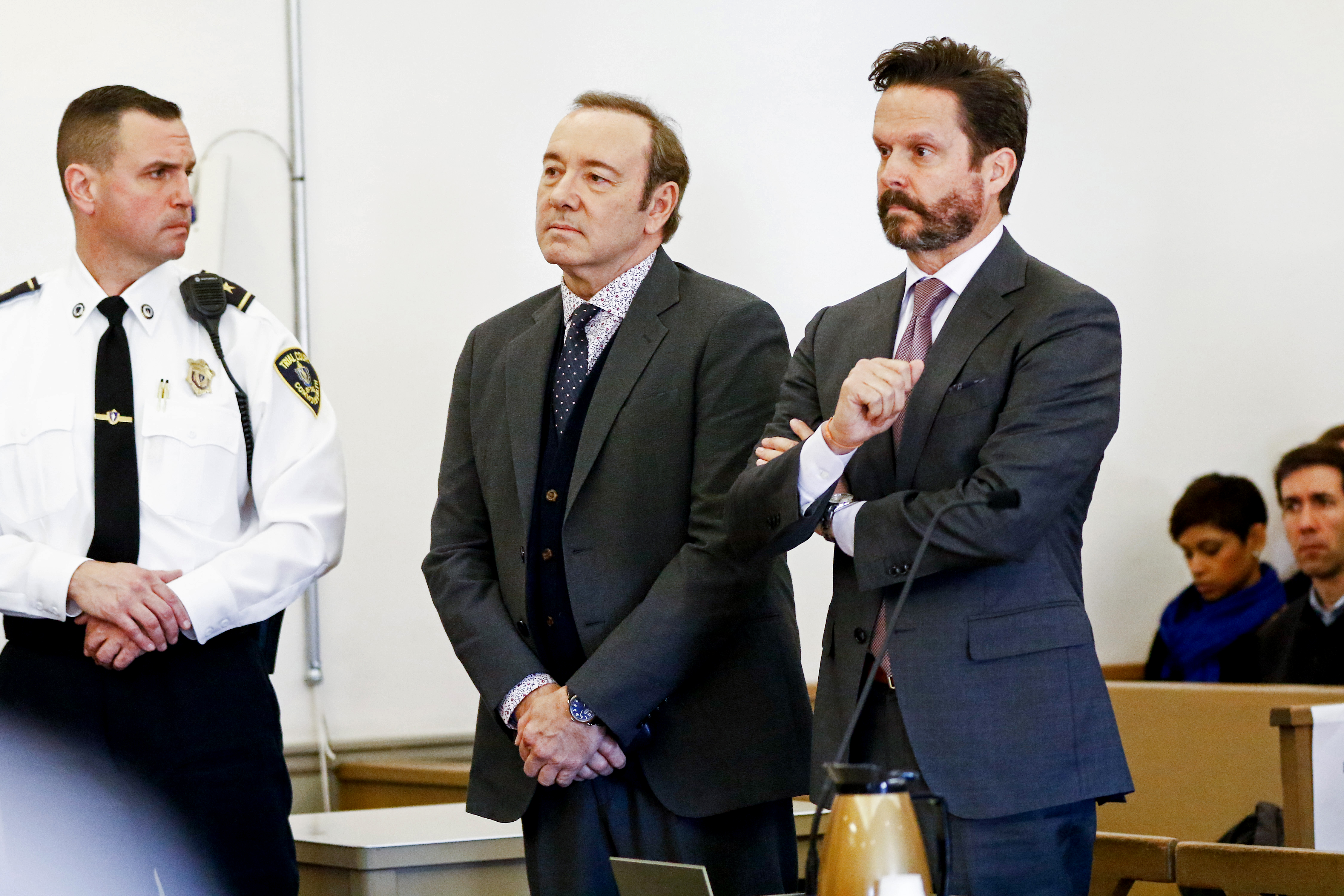 Actor Kevin Spacey (L) attends his arraignment on sexual assault charges with his lawyer Alan Jackson at Nantucket District Court on January 7, 2019 in Nantucket, Massachusetts. (Photo by Nicole Harnishfeger-Pool/Getty Images)