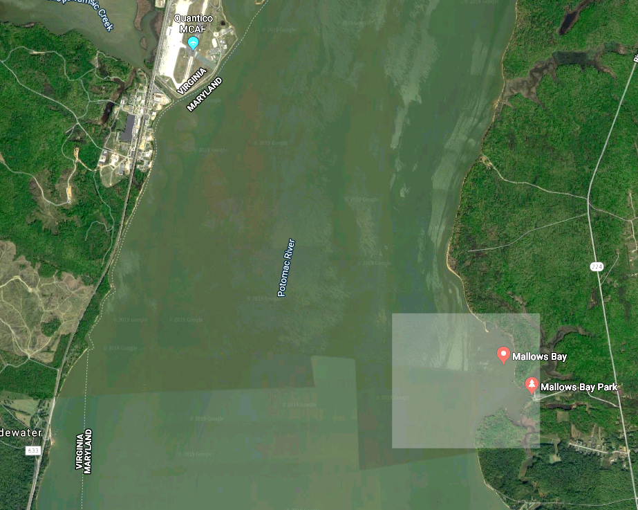 Forty miles south of Washington, the 18-square-mile stretch of the Potomac River in Charles County, Maryland, has been named the Mallows Bay-Potomac River National Marine Sanctuary. Photo from Google Maps.