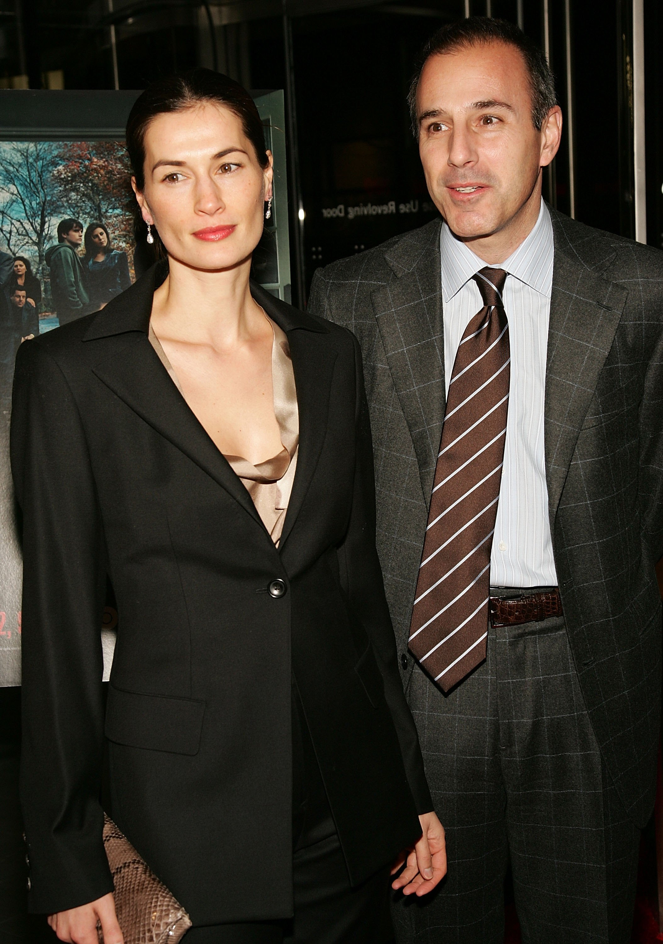 "Today Show host Matt Lauer and wife Annette Roque attend the sixth season premiere of the HBO series ""The Sopranos"" at the Museum Of Modern Art, March 7, 2006 in New York City. (Photo by Evan Agostini/Getty Images)"