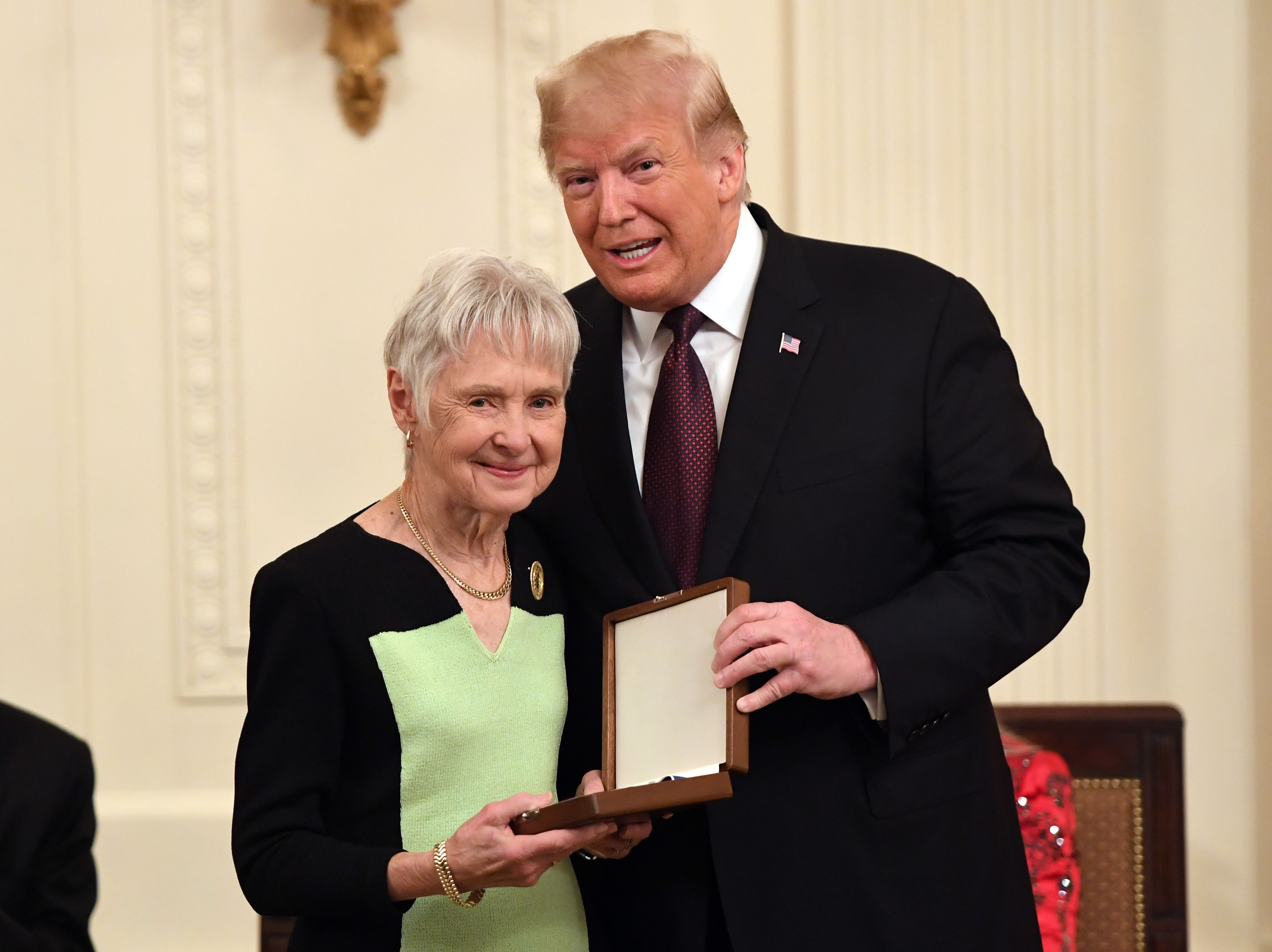 President Donald Trump awards the presidential Medal of Freedom to the late Supreme Court Justice Antonin Scalia. His wife Maureen Scalia accepted the commendation. (Saul Loeb/AFP/Getty Images)