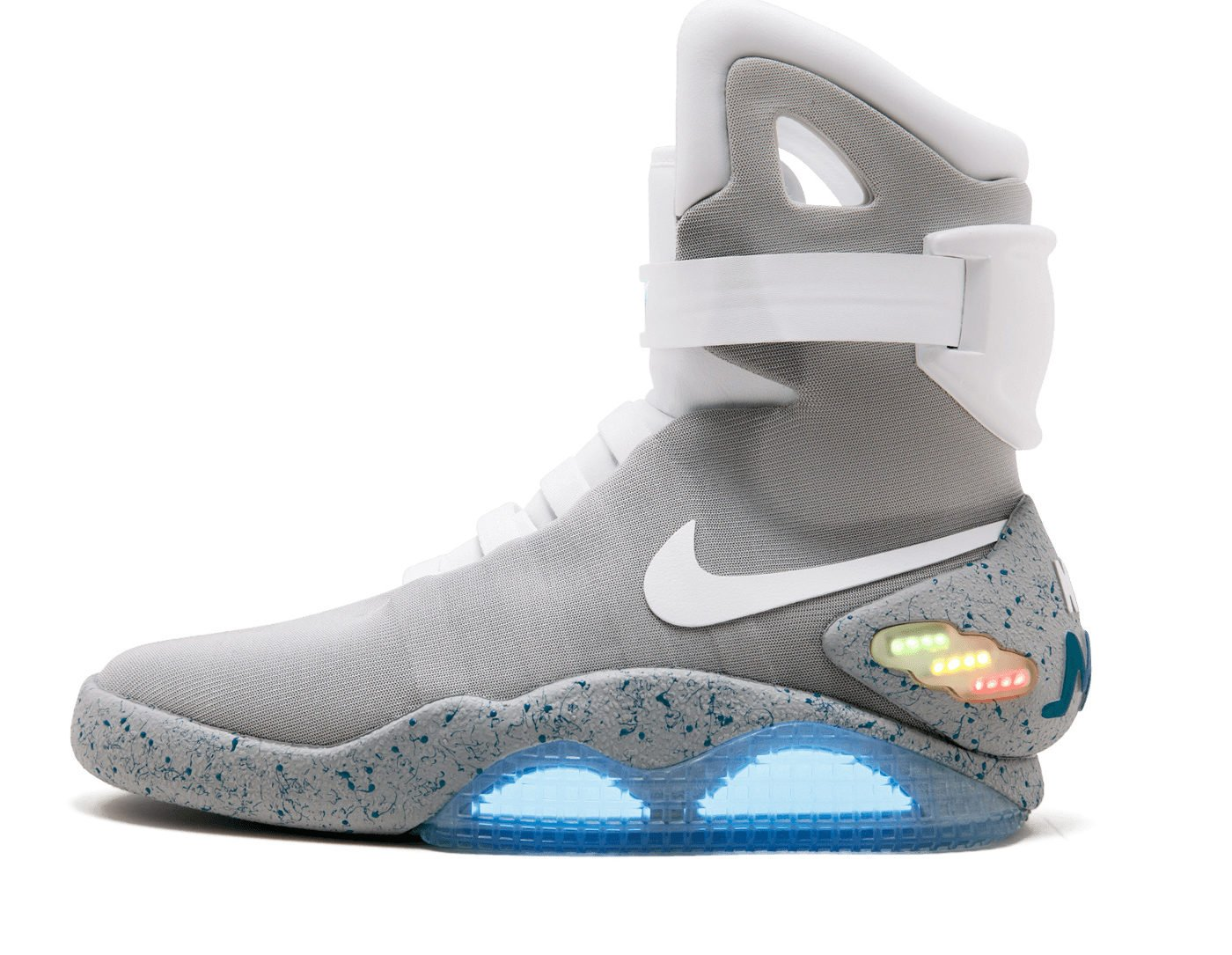 """The Nike Mags sneaker, the design worn by Marty McFly character in """"Back to the Future Part II"""" film and one of only 1,500 pairs made, is seen in this Sotheby's image released on July 11, 2019. Courtesy Sotheby's/Handout via REUTERS - RC1393F9FB70"""