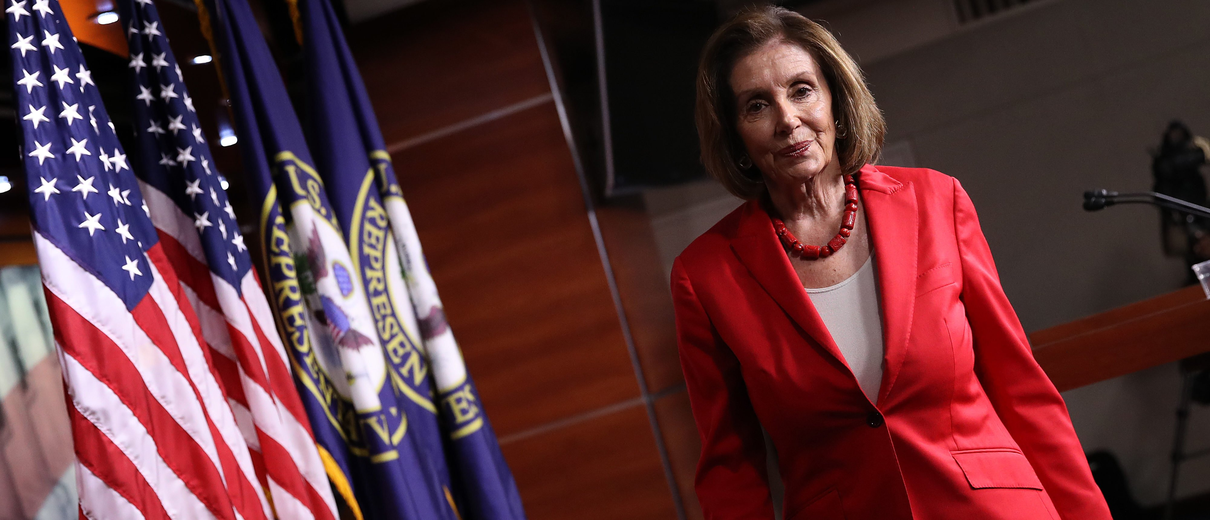 WASHINGTON, DC - JUNE 27: Speaker of the House Nancy Pelosi (D-CA) departs following her weekly press conference at the U.S. Capitol on June 27, 2019 in Washington, DC. Pelosi answered a range of questions focusing primarily on immigration issues and pending legislation before the U.S. Congress. (Photo by Win McNamee/Getty Images)
