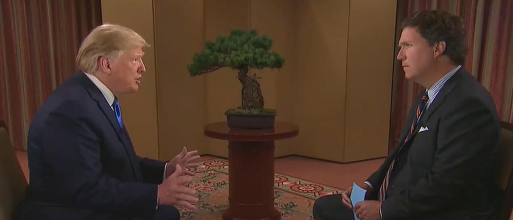 President Trump discusses Afghan war with Tucker Carlson (Fox News screengrab)
