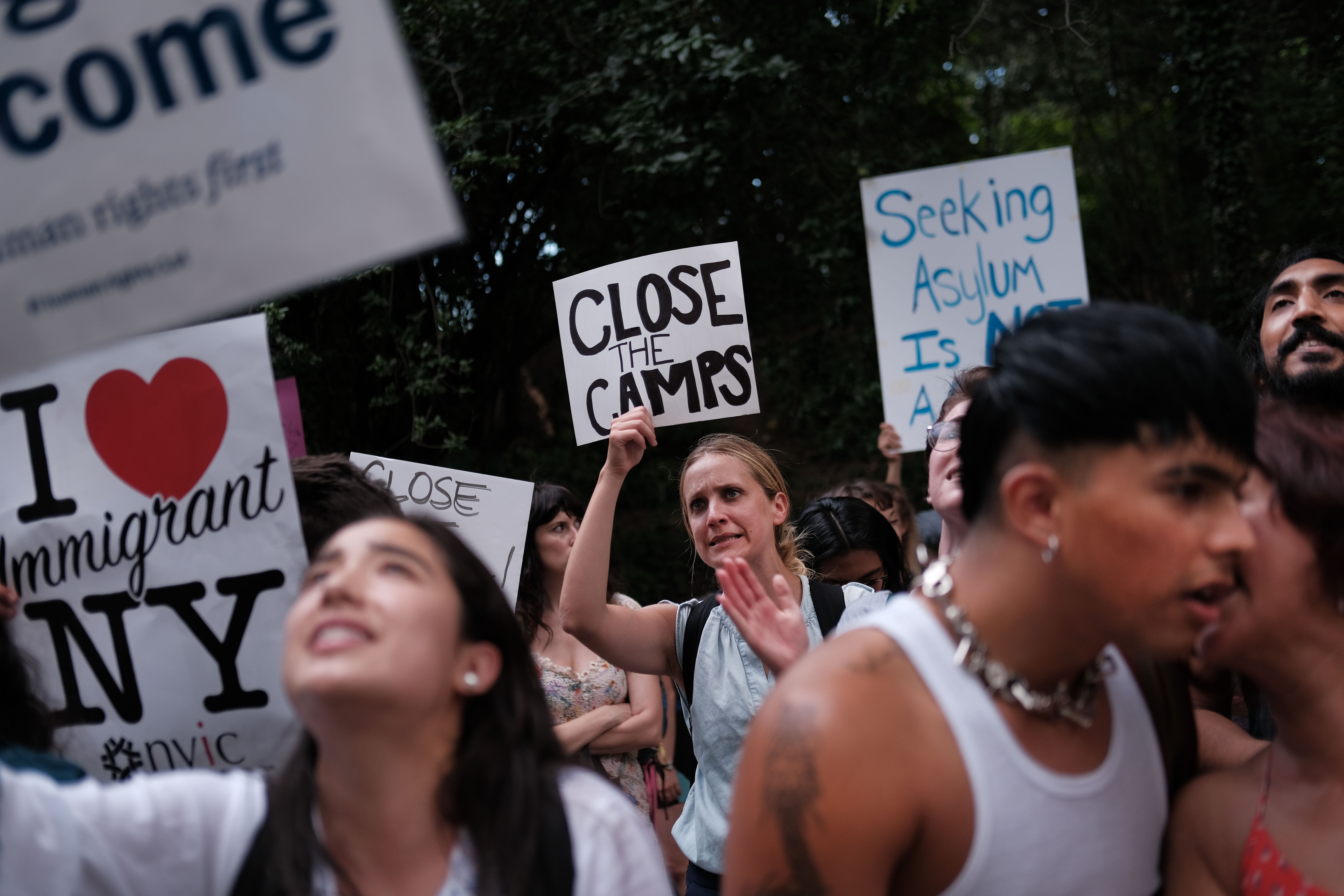 Hundreds of people gather in front of Senator Chuck Schumer's Brooklyn apartment to protest the migrant detention facilities in New York City on July 02, 2019. (Spencer Platt/Getty Images)