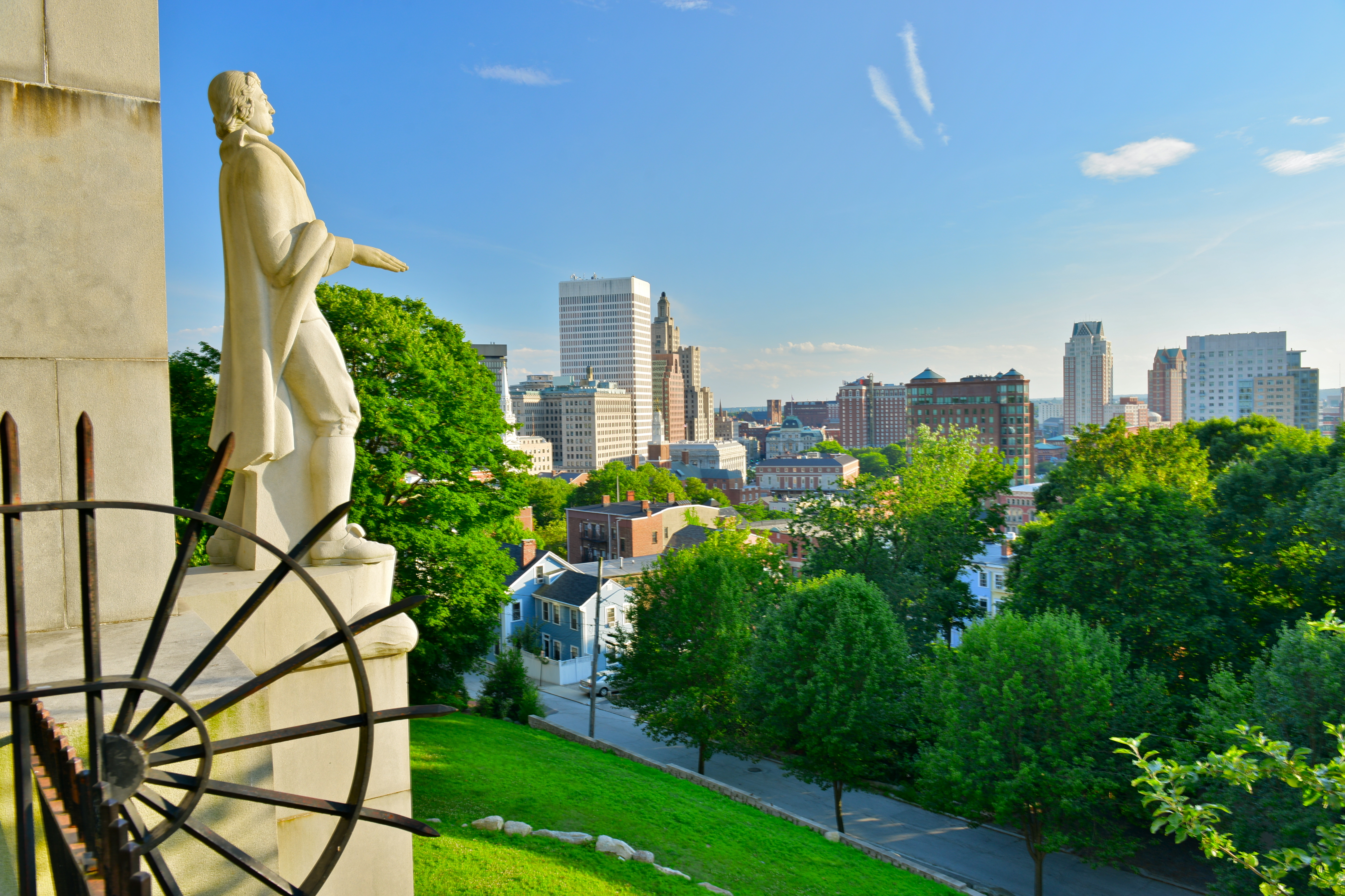 Prospect Terrace Park view of the Providence skyline and Roger Williams statue, Providence, Rhode Island, USA - Image Richard Cavalleri, Shutterstock.