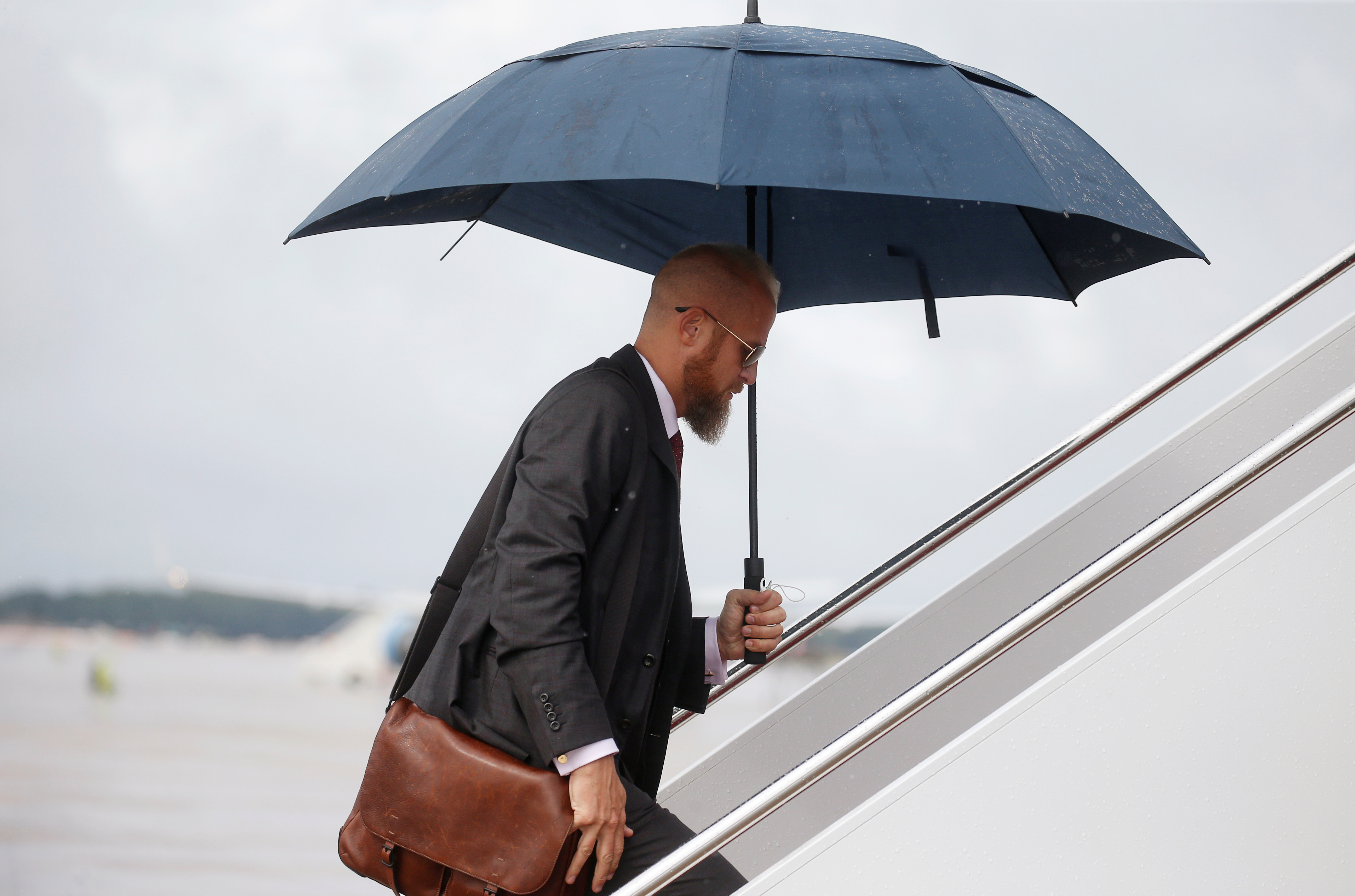Trump 2020 re-election campaign manager Brad Parscale boards Air Force One to travel to West Virginia with the U.S. President Donald Trump at Joint Base Andrews, Maryland, U.S. August 21, 2018. REUTERS/Leah Millis