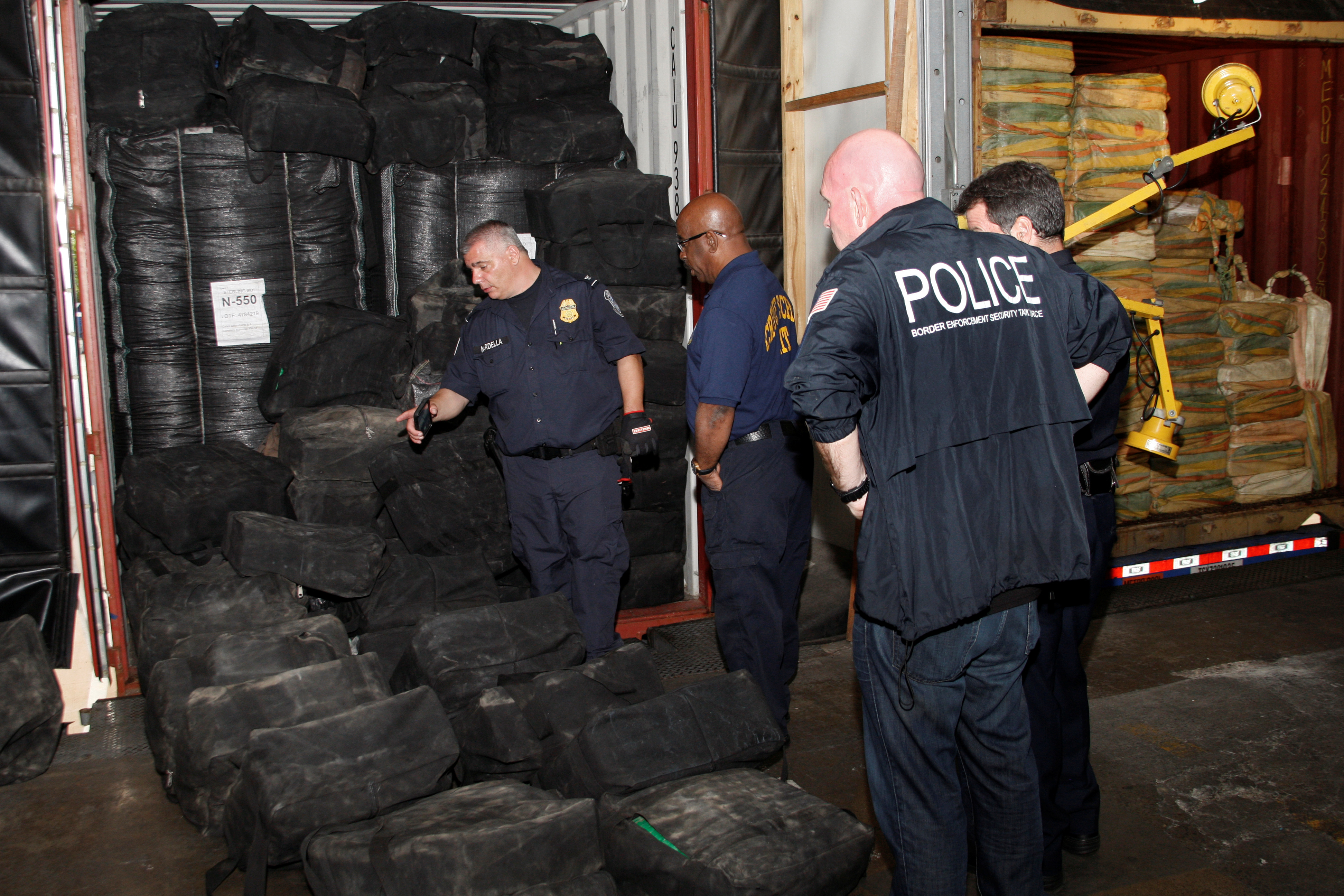 Some of the 35,000 pounds (15,875 kg) of cocaine that U.S. Customs and Border Protection and Homeland Security Investigations seized on the MSC Gayane in seven shipping containers is seen in Philadelphia, Pennsylvania, U.S. June 17, 2019. Picture taken June 17, 2019. Steve Sapp/courtesy of U.S. Customs and Border Protection REUTERS