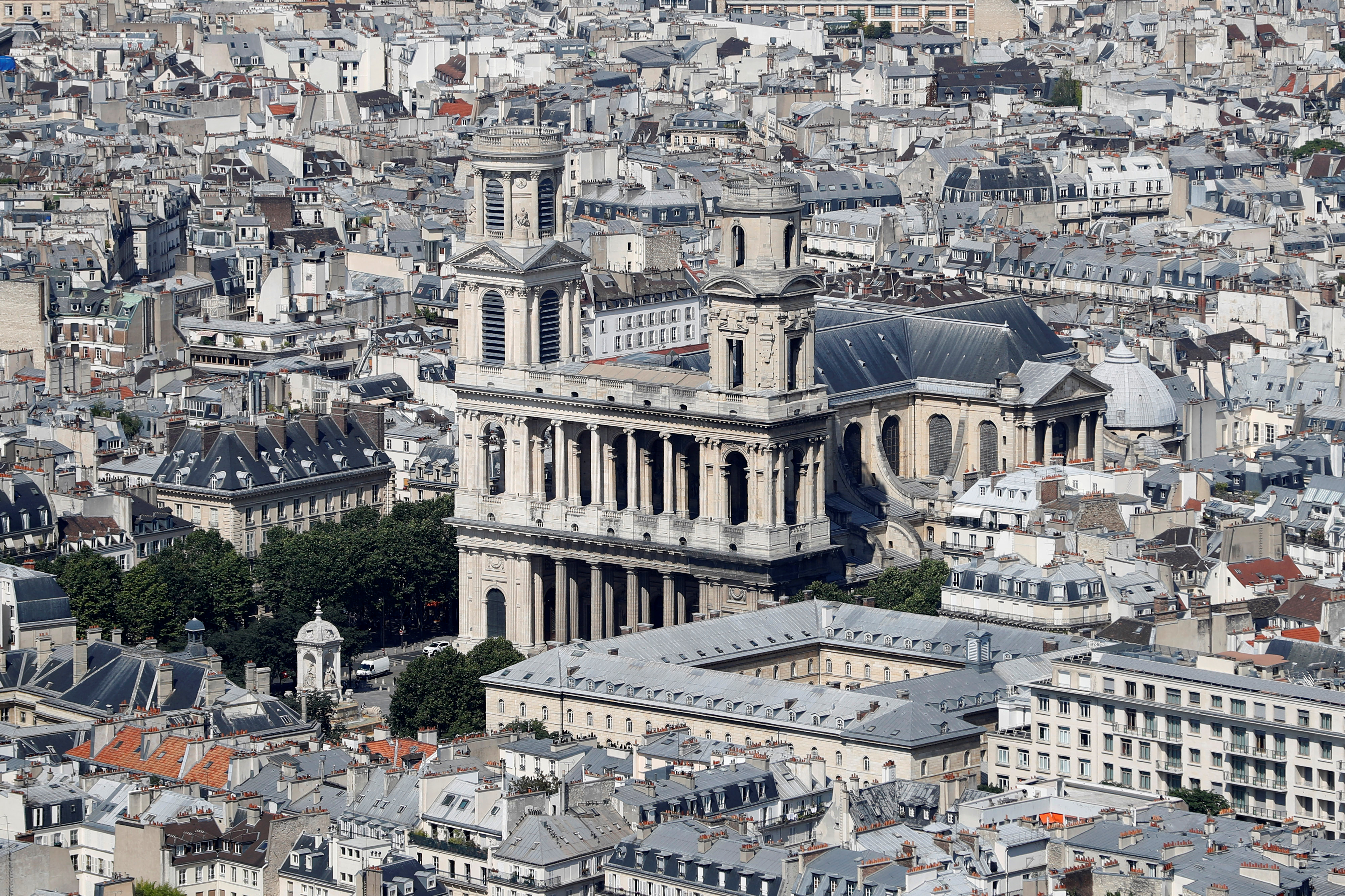 An aerial view shows the Saint-Sulpice chuch in Paris, France, July 8, 2016. REUTERS/Charles Platiau