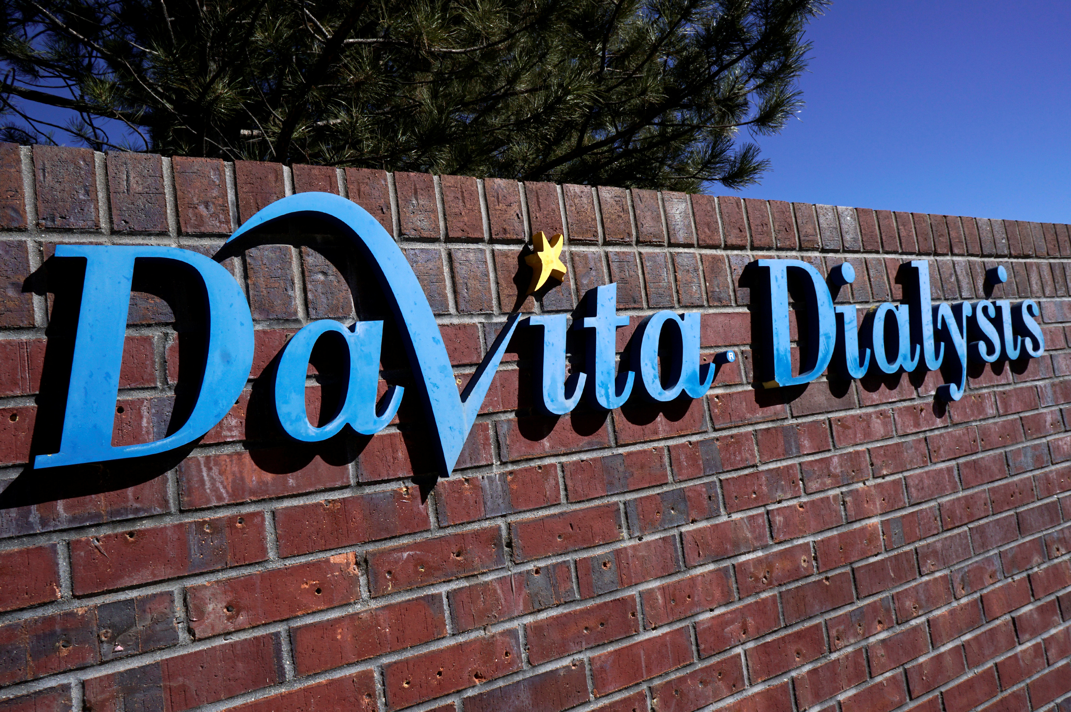The outdoor sign seen at the DaVita Dialysis clinic in Denver February 16, 2017. REUTERS/Rick Wilking