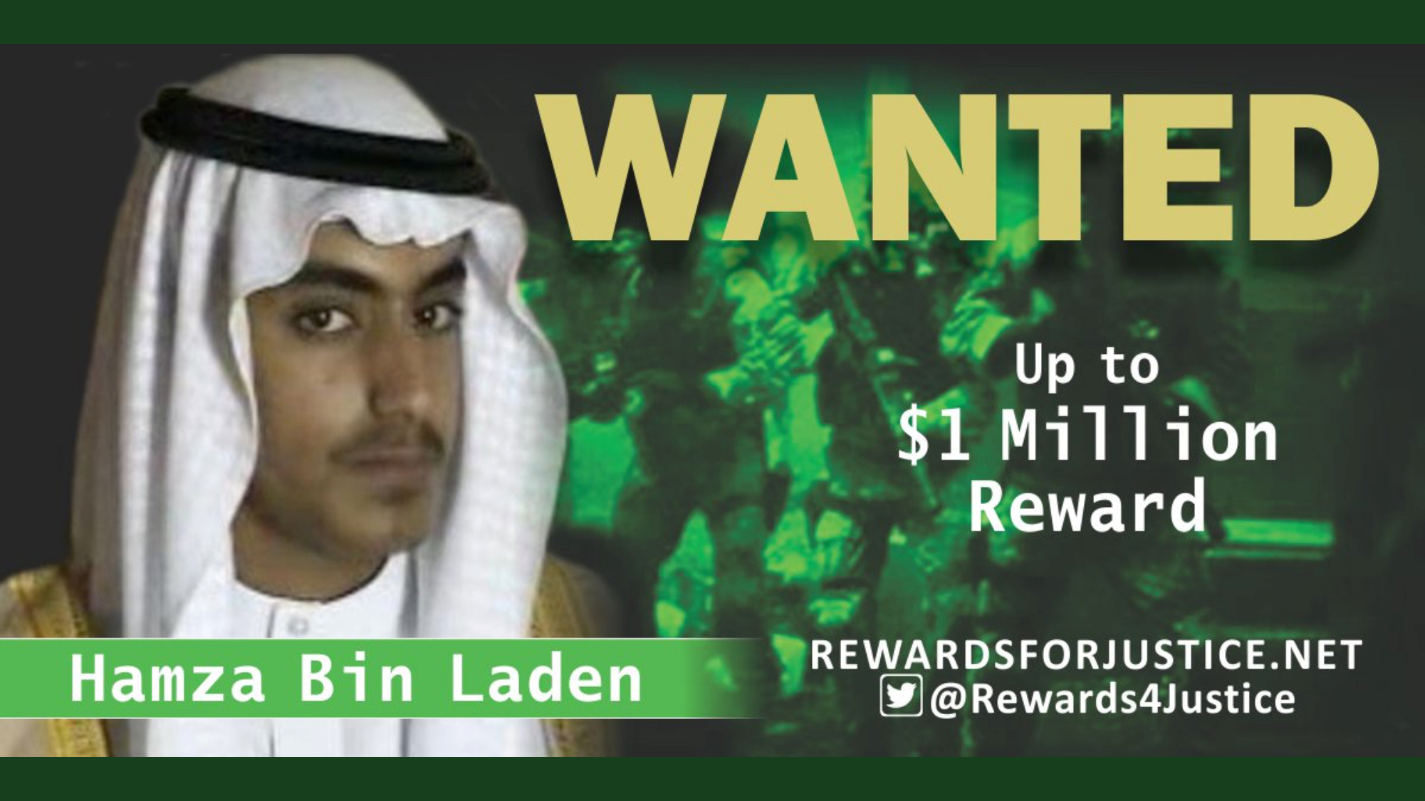 A photograph circulated by the U.S. State Department's Twitter account to announce a $1 million USD reward for al Qaeda key leader Hamza bin Laden, son of Osama bin Laden, is seen March 1, 2019. (State Department/Handout via REUTERS)