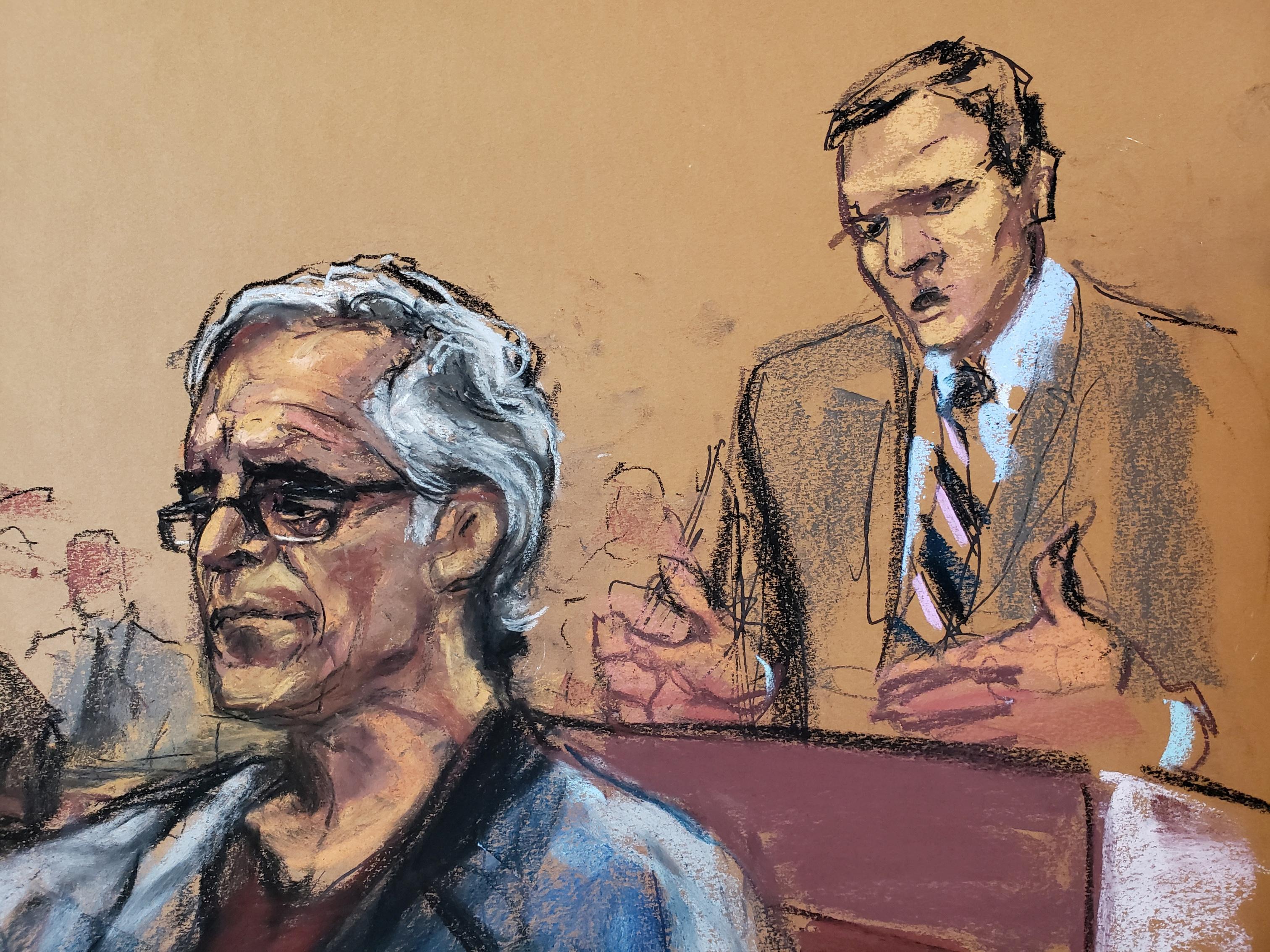 Assistant U.S. Attorney Alex Rossmiller (R) speaks as Jeffrey Epstein looks on during a a bail hearing in U.S. financier Jeffrey Epstein's sex trafficking case, in this court sketch in New York, U.S., July 15, 2019. REUTERS/Jane Rosenberg