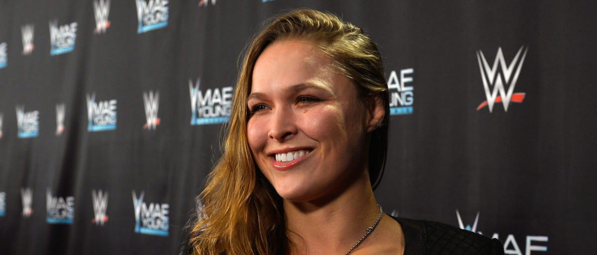 MMA fighter Ronda Rousey appears on the red carpet of the WWE Mae Young Classic on September 12, 2017 in Las Vegas, Nevada. (Photo by Bryan Steffy/Getty Images for WWE)