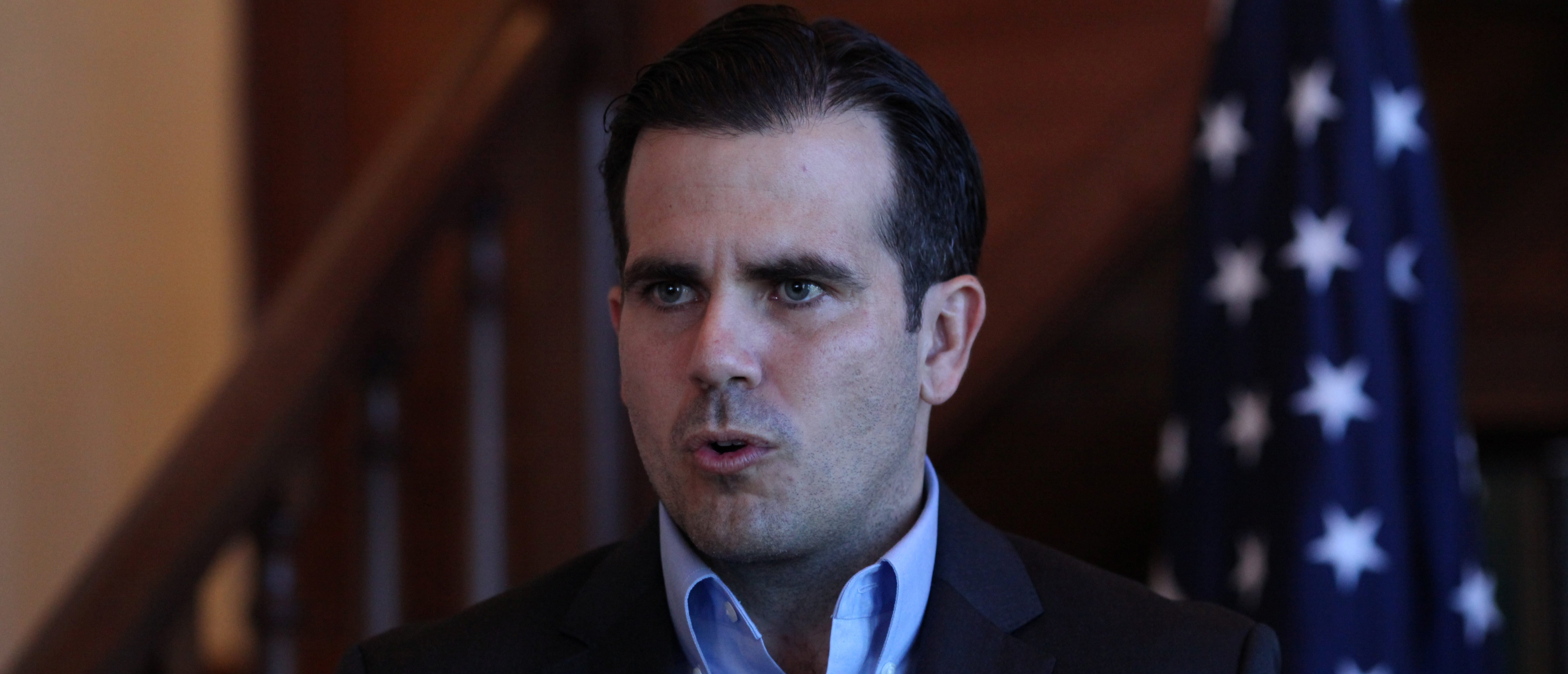 Puerto Rico Gov. Ricardo Rossello speaks during a Facebook live broadcast in the library of the governor's mansion, in San Juan, Puerto Rico, Jan. 24, 2018. REUTERS/Alvin Baez