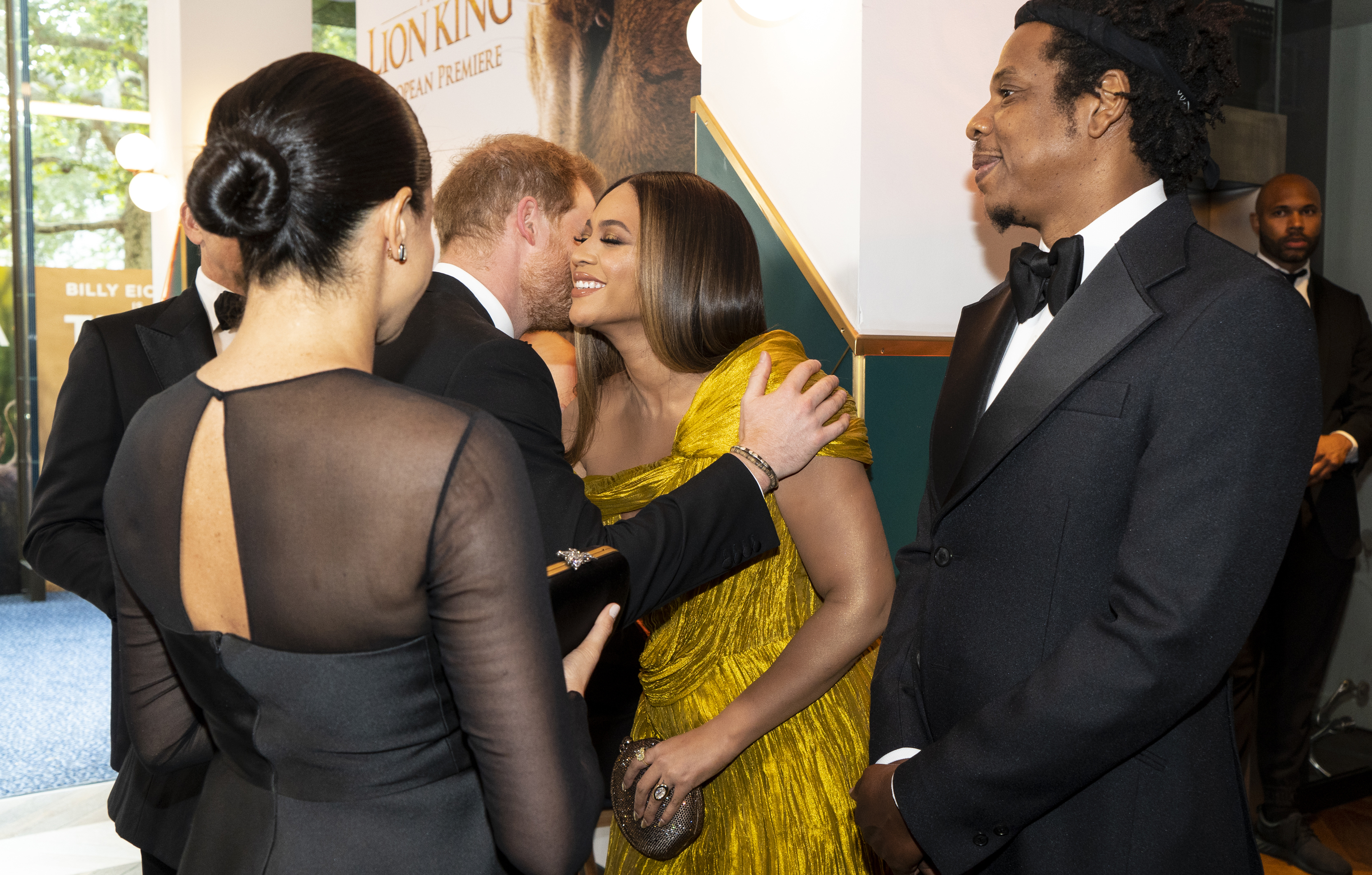 "Prince Harry, Duke of Sussex and Meghan, Duchess of Sussex greet US singer-songwriter Beyoncé and and US rapper Jay-Z at the European Premiere of Disney's ""The Lion King"" at Odeon Luxe Leicester Square on July 14, 2019 in London, England. (Photo by Niklas Halle'n-WPA Pool/Getty Images)"