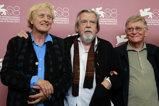 Director Ermanno Olmi (R) poses with cast members Michael Lonsdale (C) and Rutger Hauer during a photocall for their film Il Villaggio Di Cartone at the 68th Venice Film Festival September 6, 2011. REUTERS/Eric Gaillard