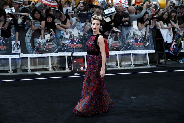 "Cast member Scarlett Johansson poses at the european premiere of ""Avengers: Age of Ultron"" at Westfield shopping centre, Shepherds Bush, London April 21, 2015. REUTERS/Stefan Wermuth"