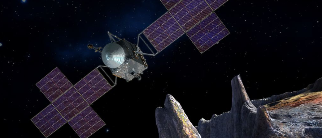 Artist's impression of NASA's asteroid mission nearing the surface of Psyche 16