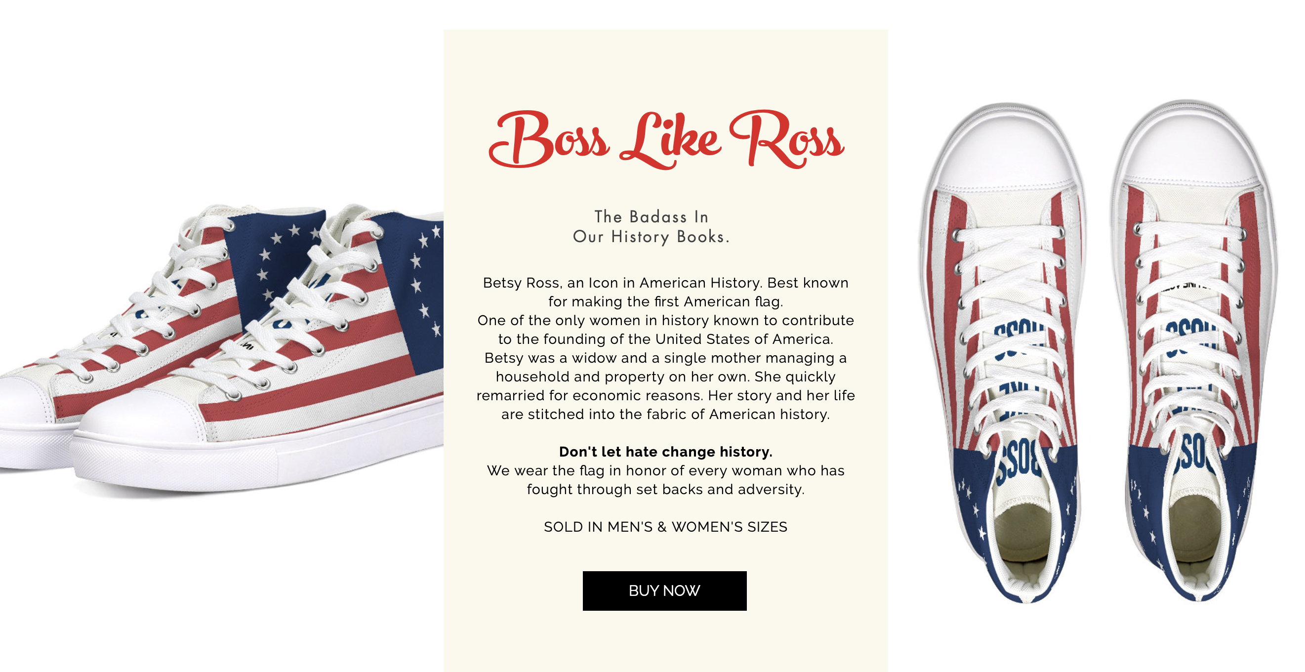 """""""Boss Like Ross"""" sneakers feature Betsy Ross's original American flag design and are being sold by Out of Line. (Screenshot/Out of Line)"""