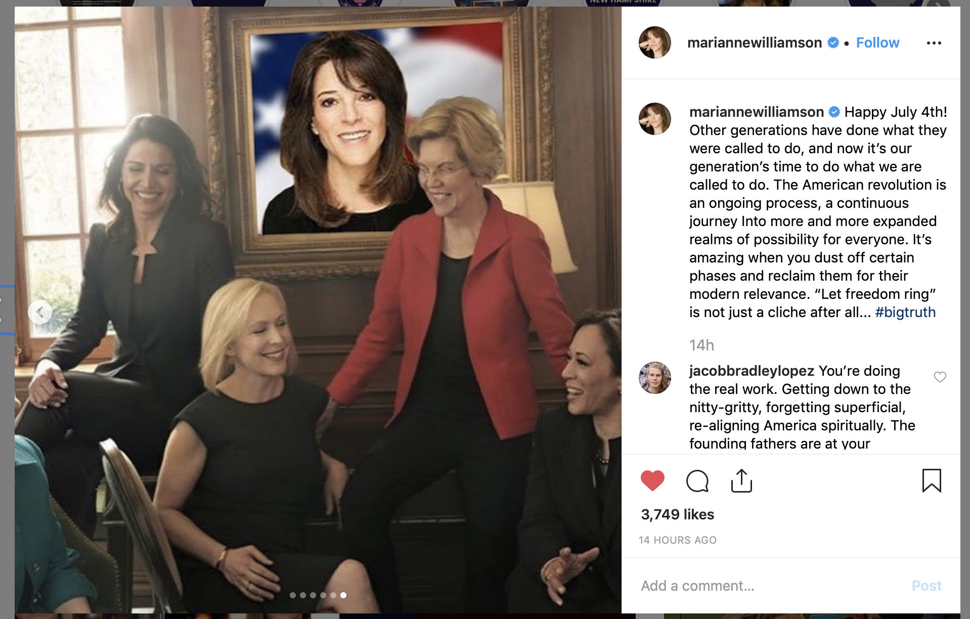 """Marianne Williamson shown included in Vogue's """"women of 2020"""" photo in a photoshopped picture on her Instagram. (Screenshot/Marianne Williamson Instagram)"""