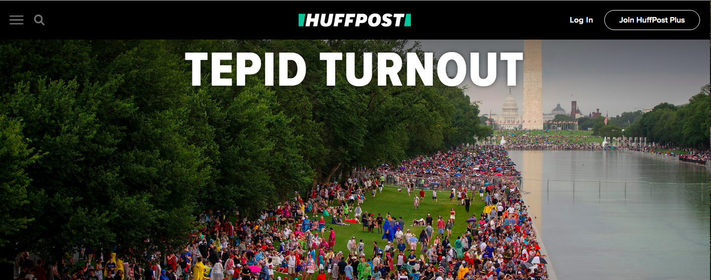 "Huffington Post ran a lead story detailing a ""tepid turnout"" at Salute to America. (Screenshot/Huffington Post)"