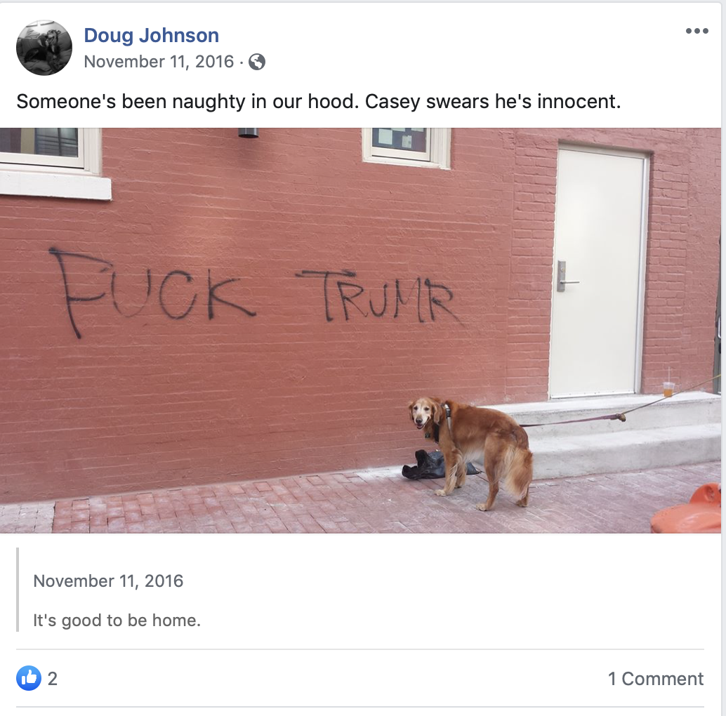"This image from the Facebook page includes ""Fuck Trump"" graffiti. (Screenshot Facebook/Doug Johnson)"