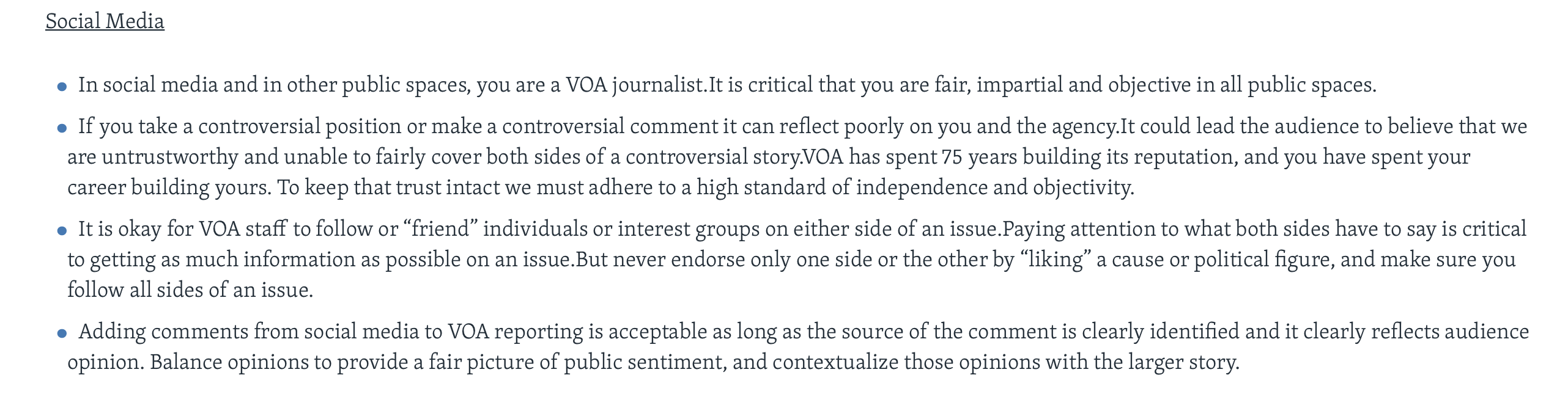 "Above is a screenshot of VOA's social media policies, according to the ""Journalistic Code"" provided on its website. (Screenshot VOA/Mission and Values VOA website)"