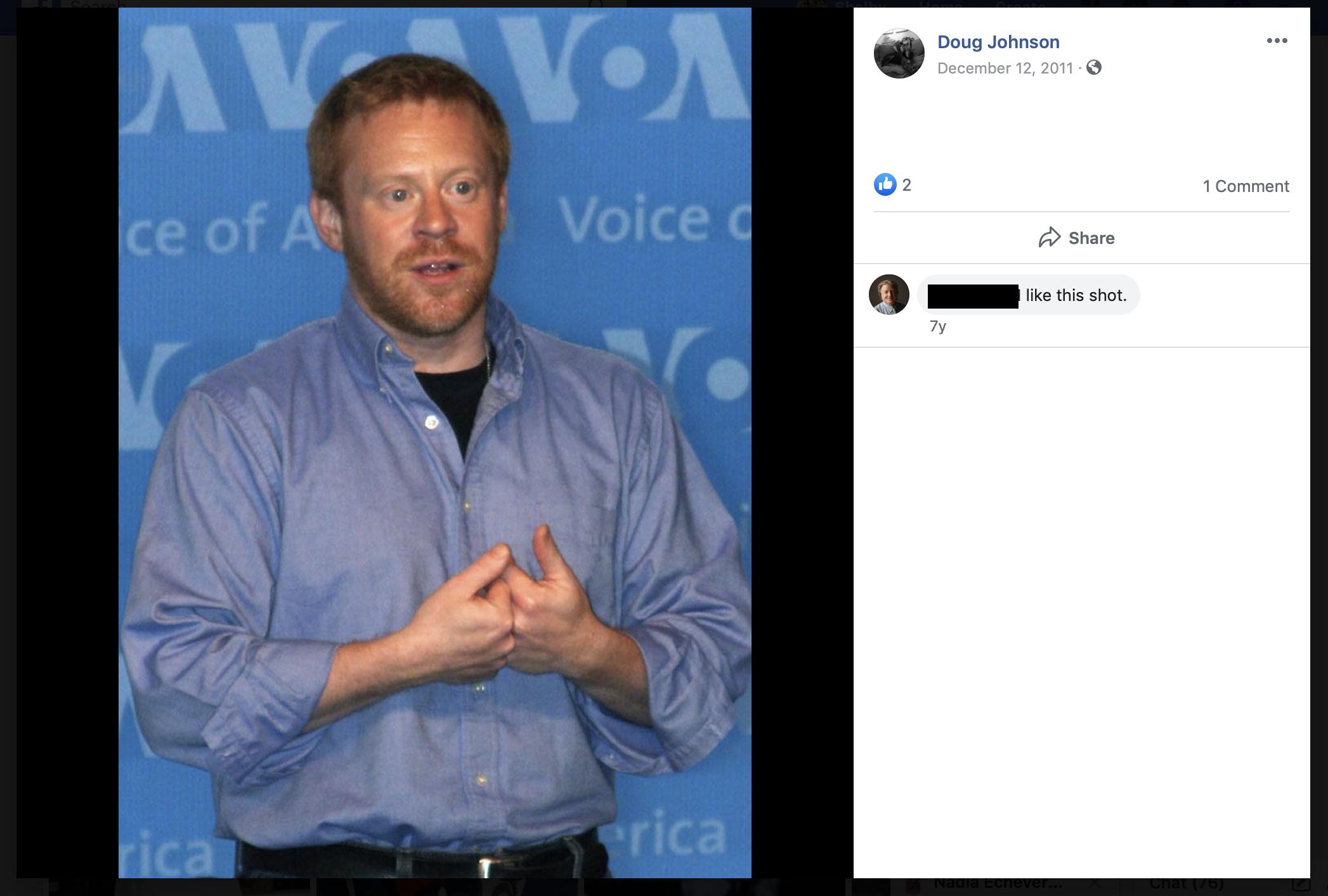 This photo matches the current headshot for Doug Bernard on the VOA website. (Screenshot Facebook/Doug Johnson)