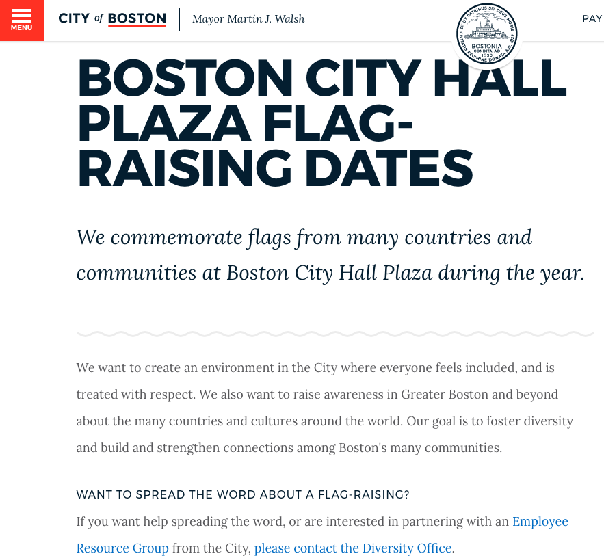 City of Boston webpage (screenshot)