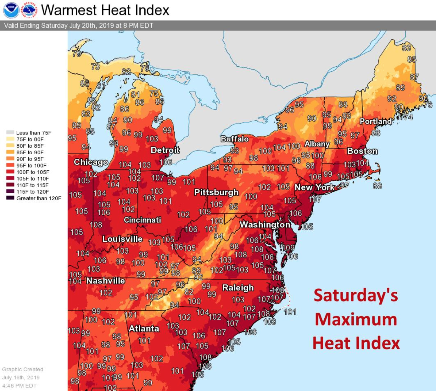 Saturday's heat forecast, according to the National Weather Center East's Twitter. (TWITTER/NWSEast)