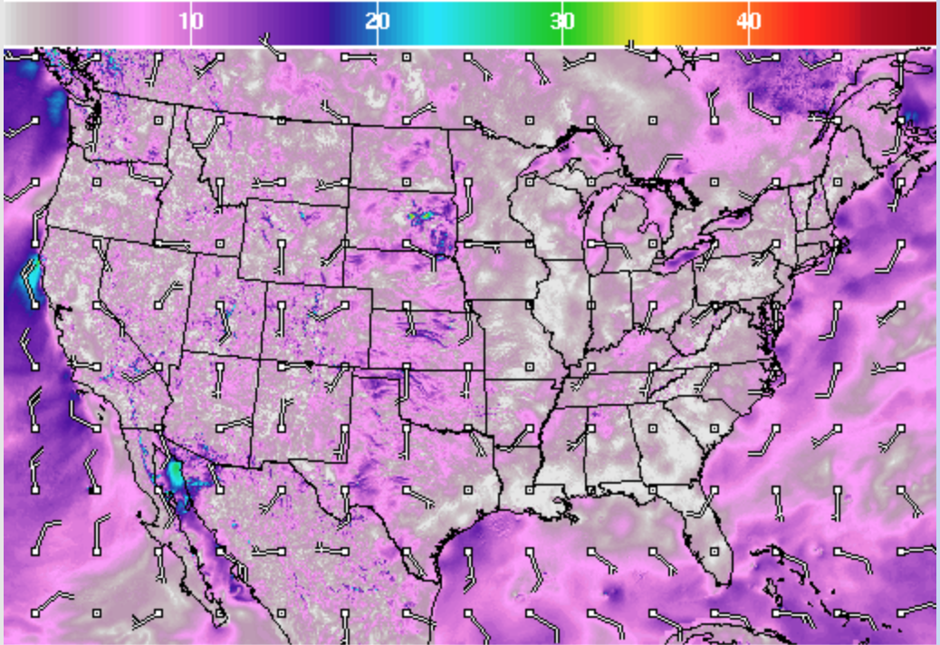 Low wind predicted across America. (National Weather Service/Screenshot)
