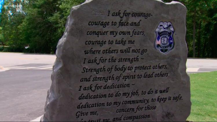Tega Cay fallen officer monument/WCNC screenshot