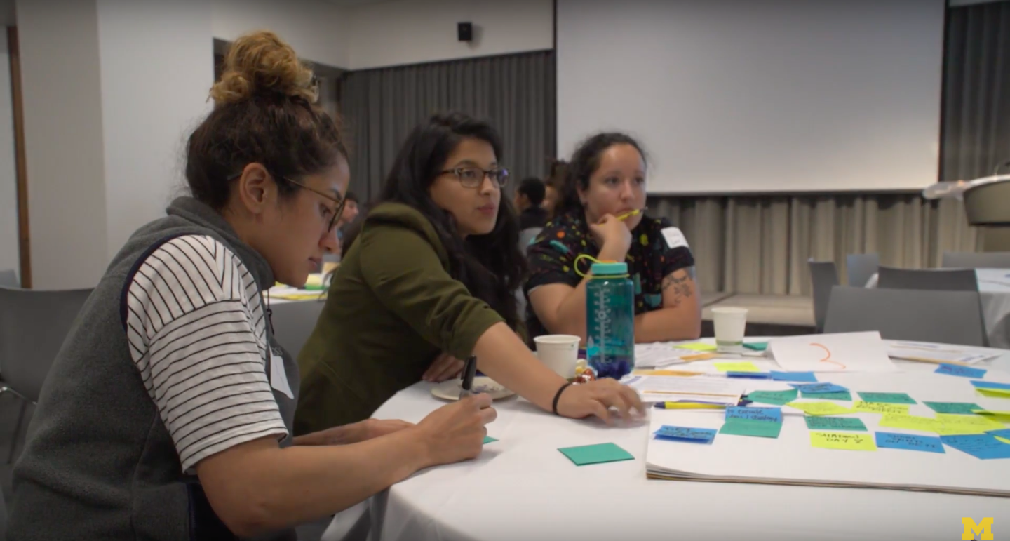 University of Michigan students do an exercise as part of the 2018 Diversity, Equity & Inclusion Summit at the University of Michigan. (Youtube/University of Michigan)