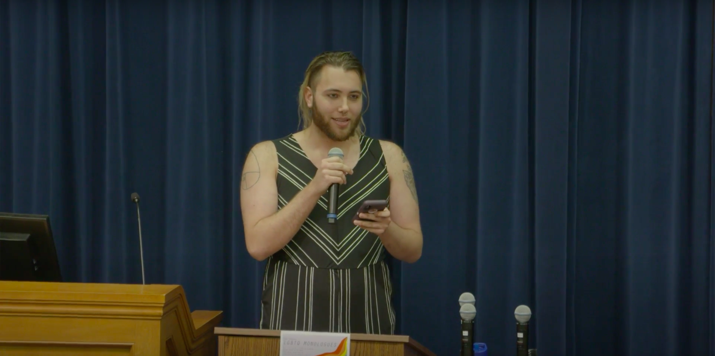 Alex Kime, student at the University of Michigan, delivers a performance as part of the LGBTQ Monologues at the 2018 Diversity, Equity & Inclusion Summit at the University of Michigan. (Youtube/University of Michigan)