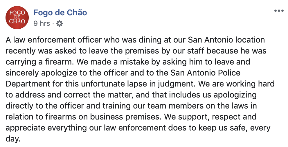 Fogo de Chao issued an apology after an armed officer was asked to leave its restaurant. (Screenshot Facebook/Fogo de Chao)