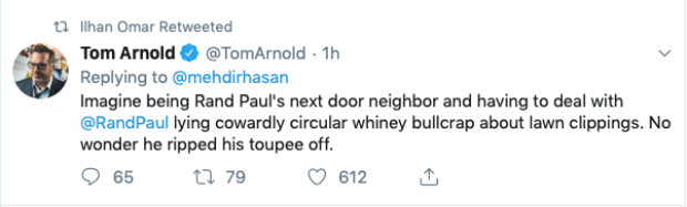 Rep. Ilhan Omar retweets Tom Arnold (Twitter Screenshot)